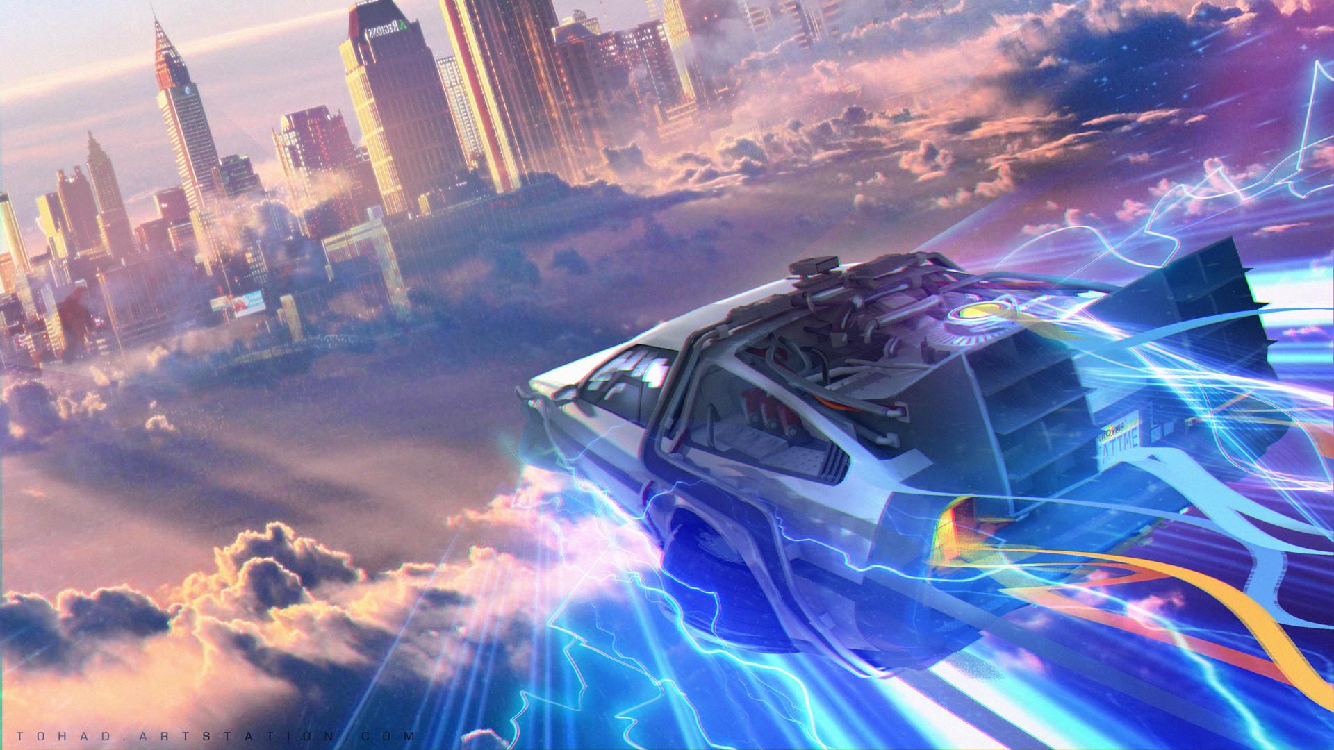 The Time Machine Back To Future DMC DeLorean Flying Artwork Cityscape Science Fiction