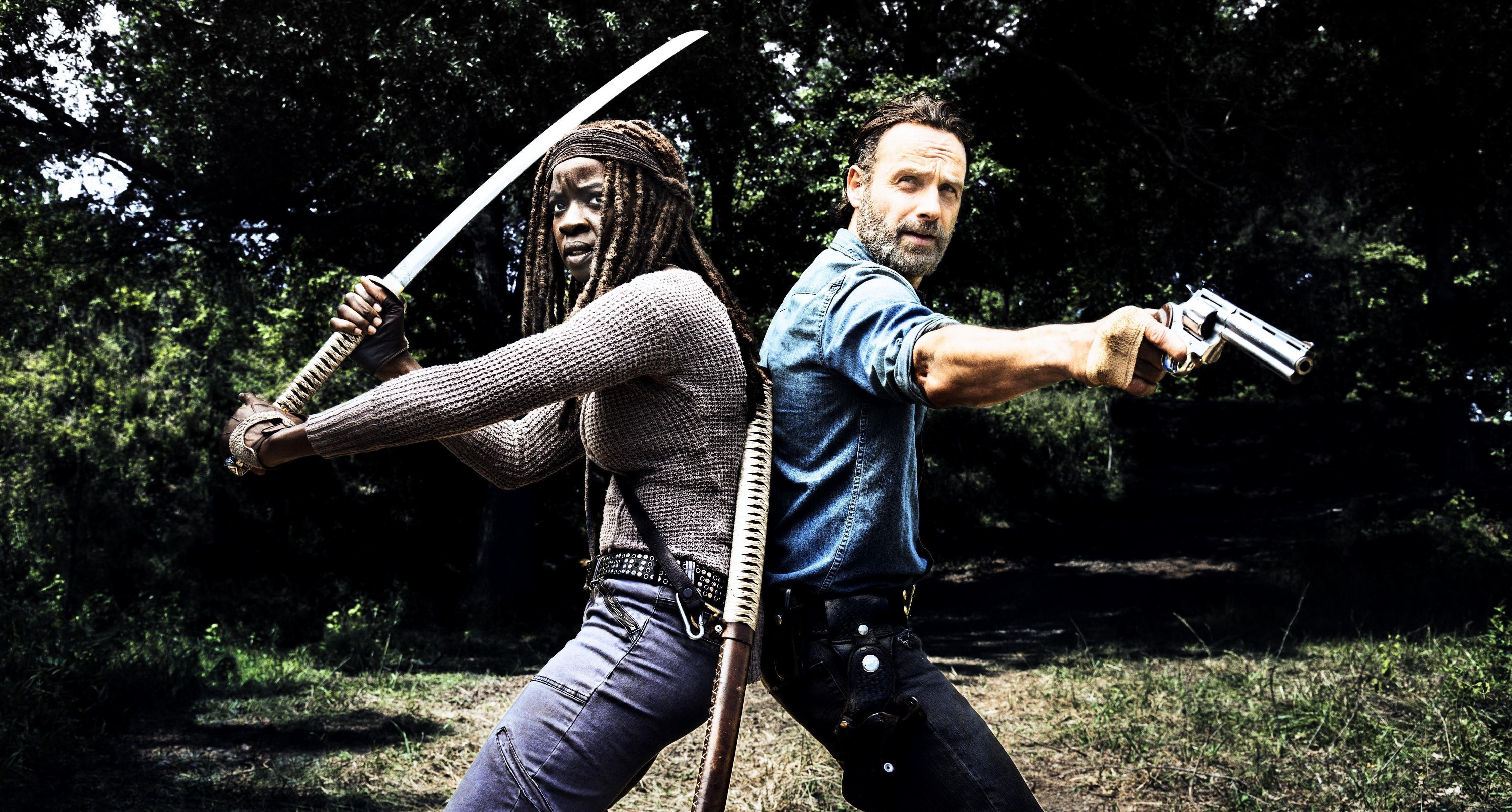 Wallpaper The Walking Dead Rick Grimes Michonne 4499x2417