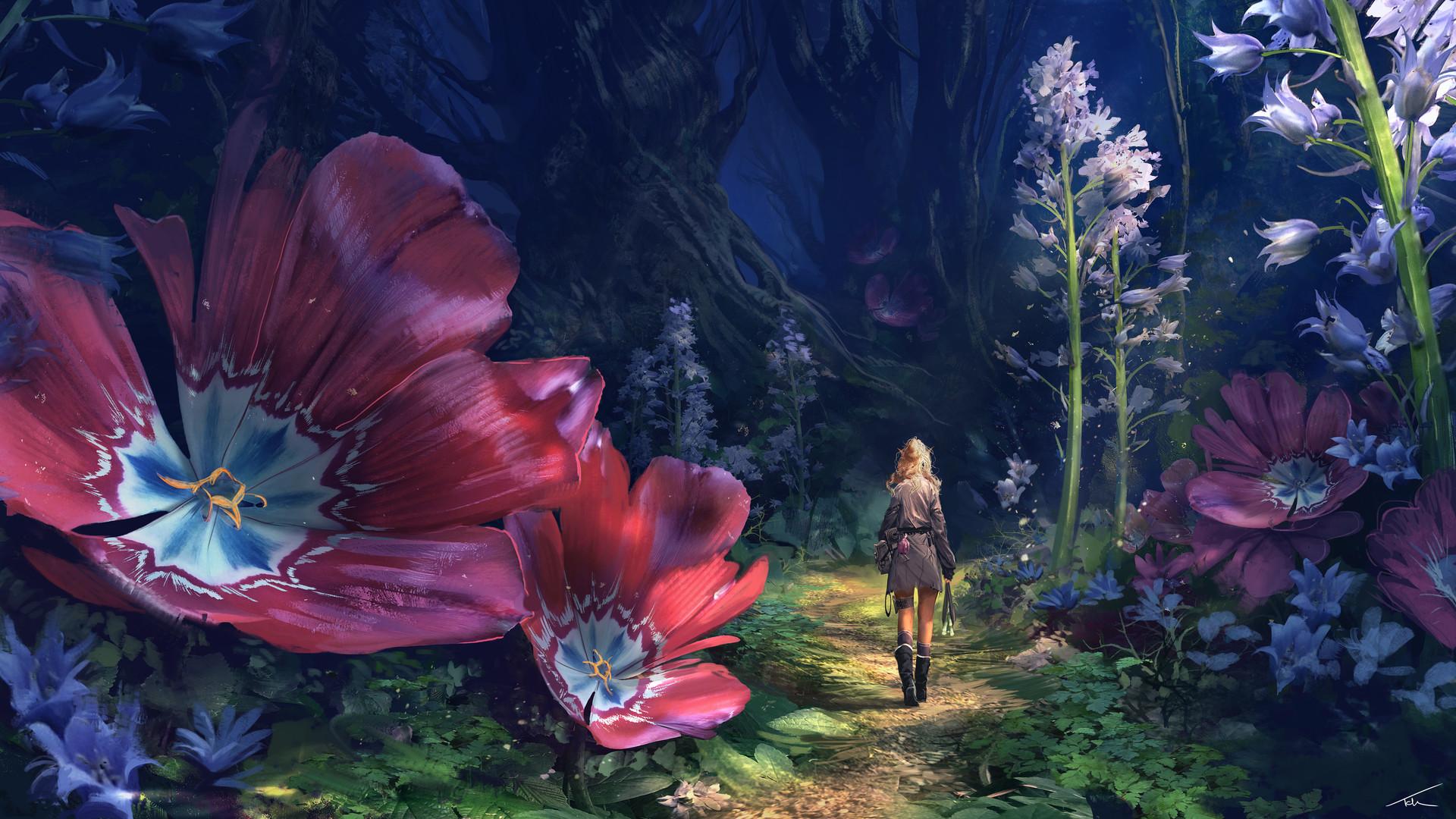 https://get.wallhere.com/photo/Thomas-Chamberlain-Keen-digital-art-fantasy-art-women-blonde-trees-jungle-flowers-plants-boots-dress-1334893.jpg
