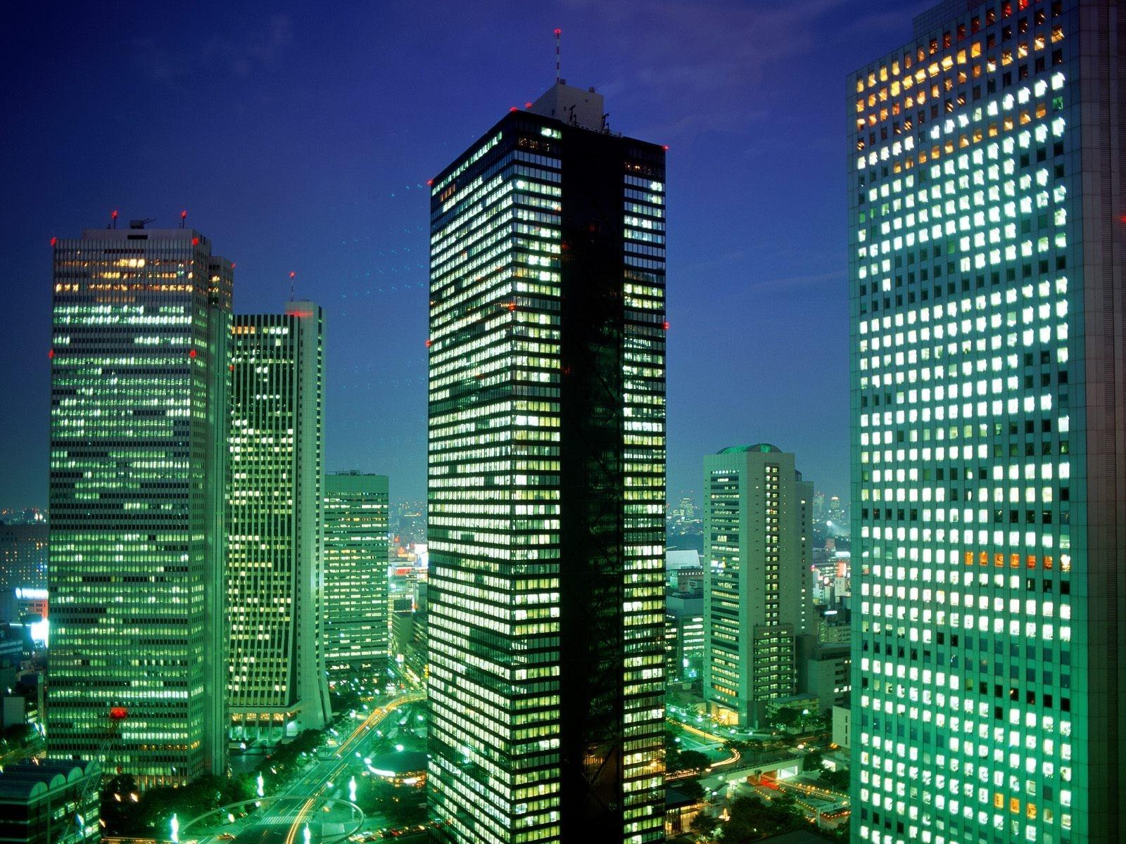 Tokyo Japan Skyscrapers Top View Night