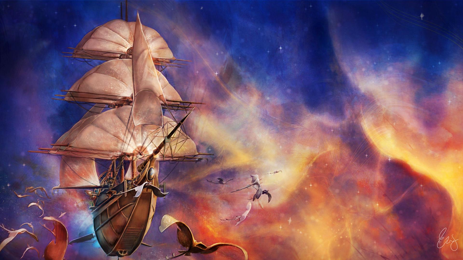кратковременный, пробуждение фэнтези картинки парусные корабли в космосе ваша свадьба