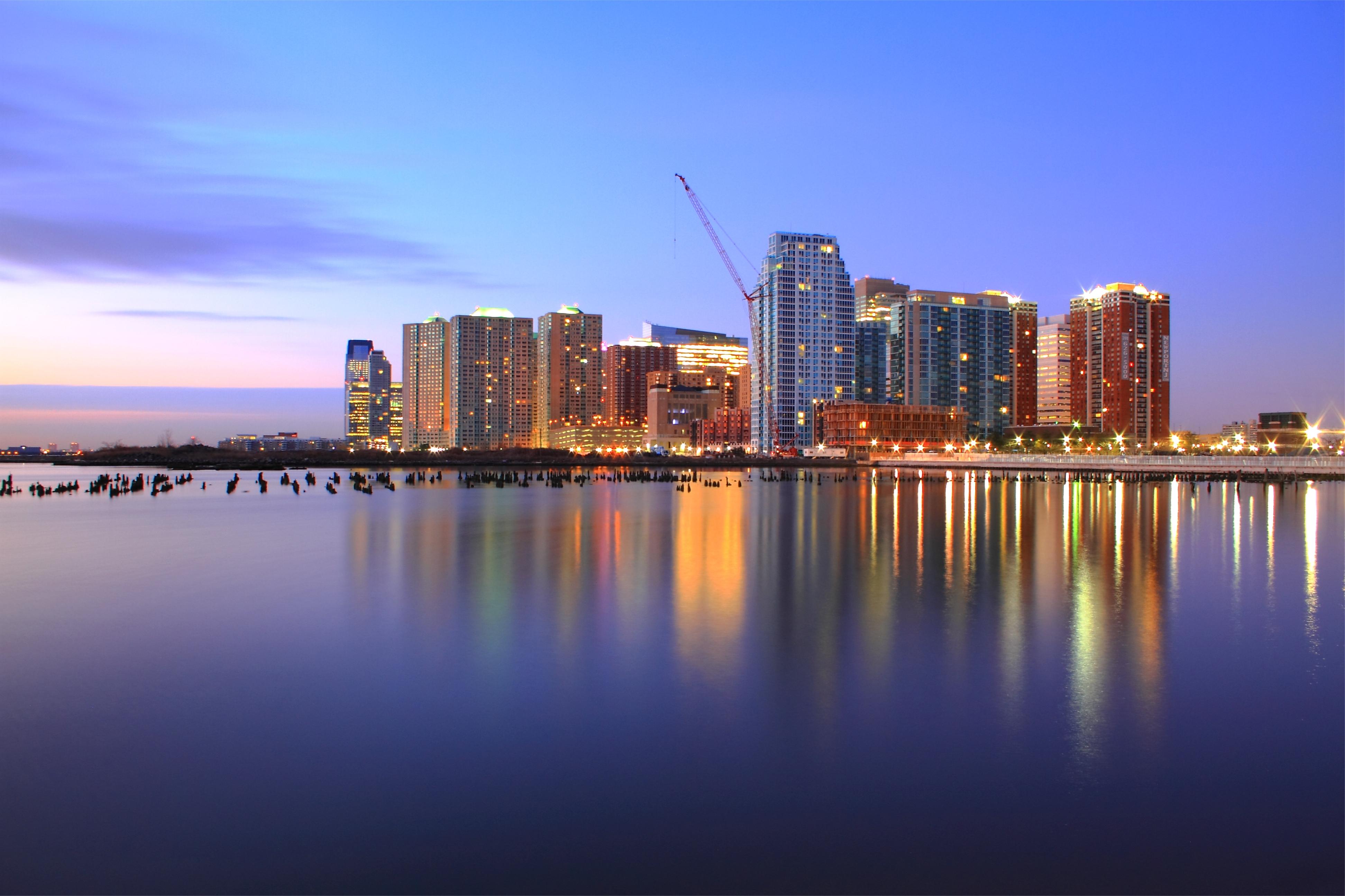 wallpaper : usa, jersey city, new jersey, port, purple, night, pink