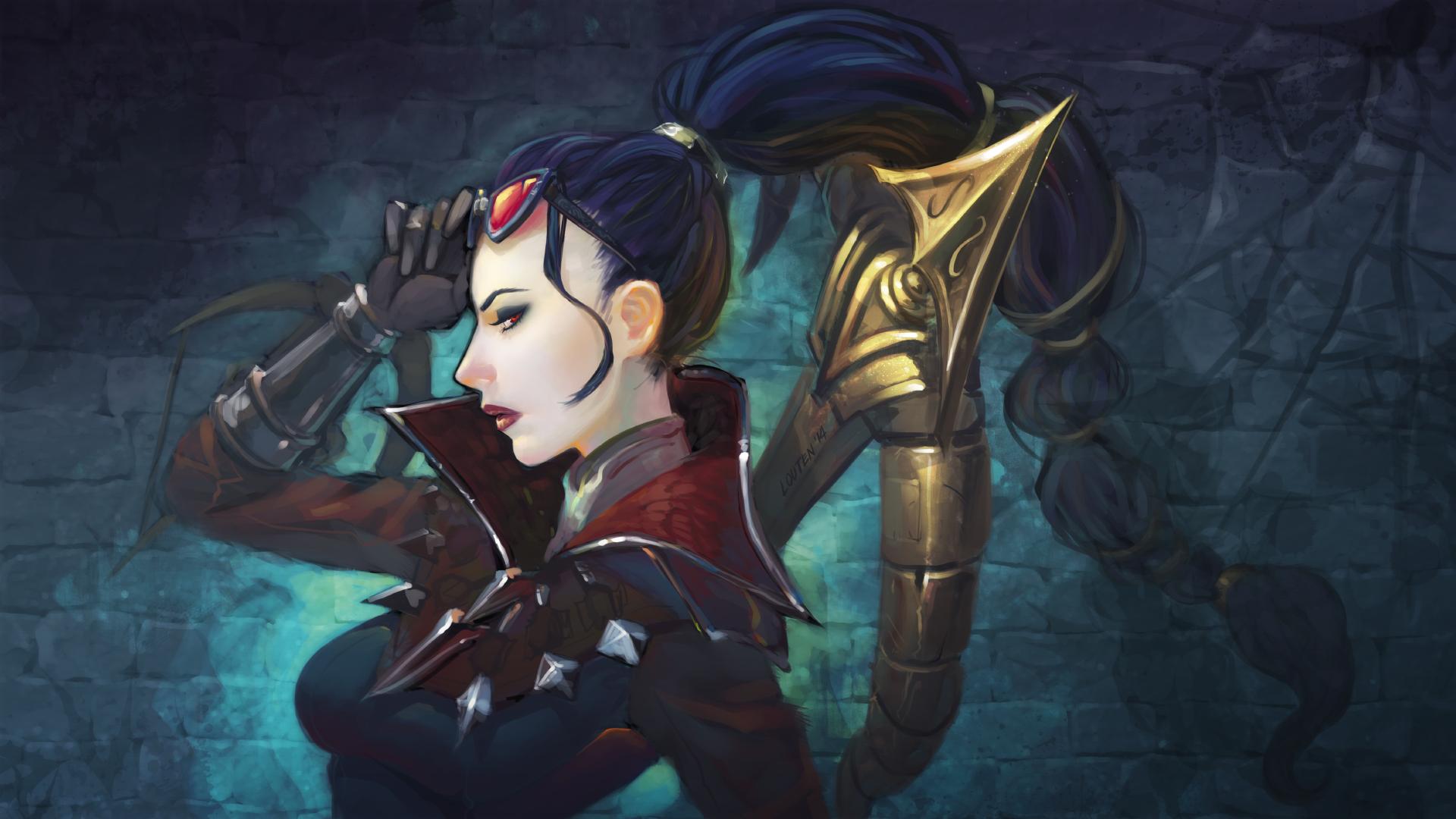 Wallpaper : Vayne League of Legends, women, eyeshadow, red