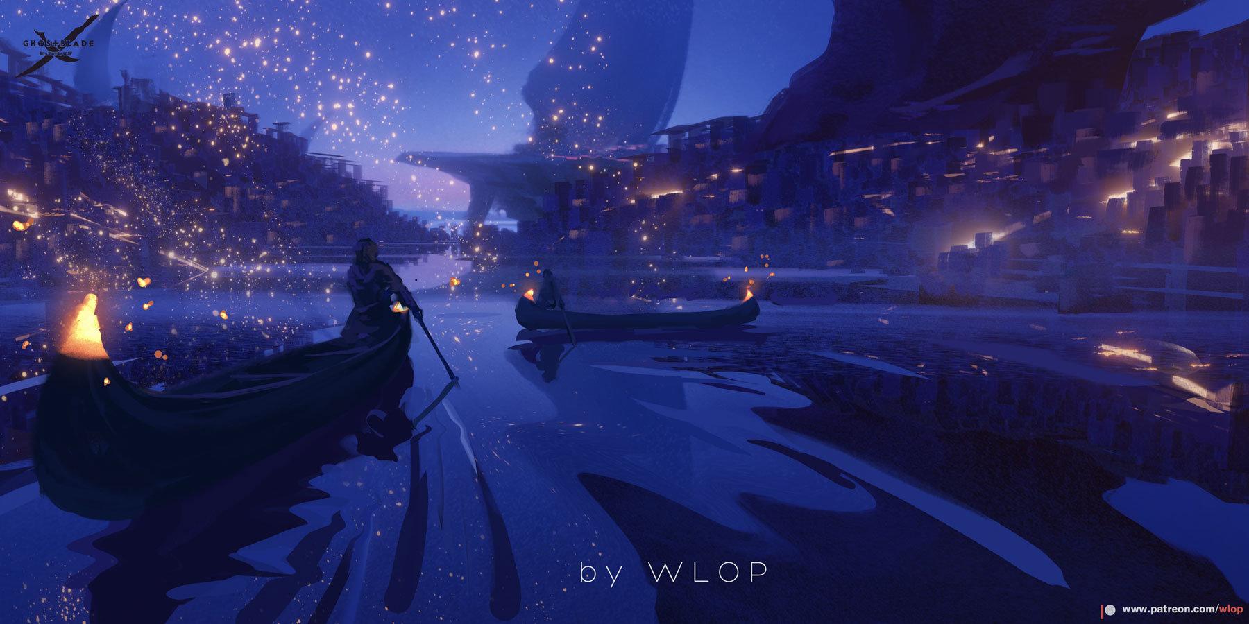 Wallpaper : WLOP, Ghost Blade, anime girls 1800x900