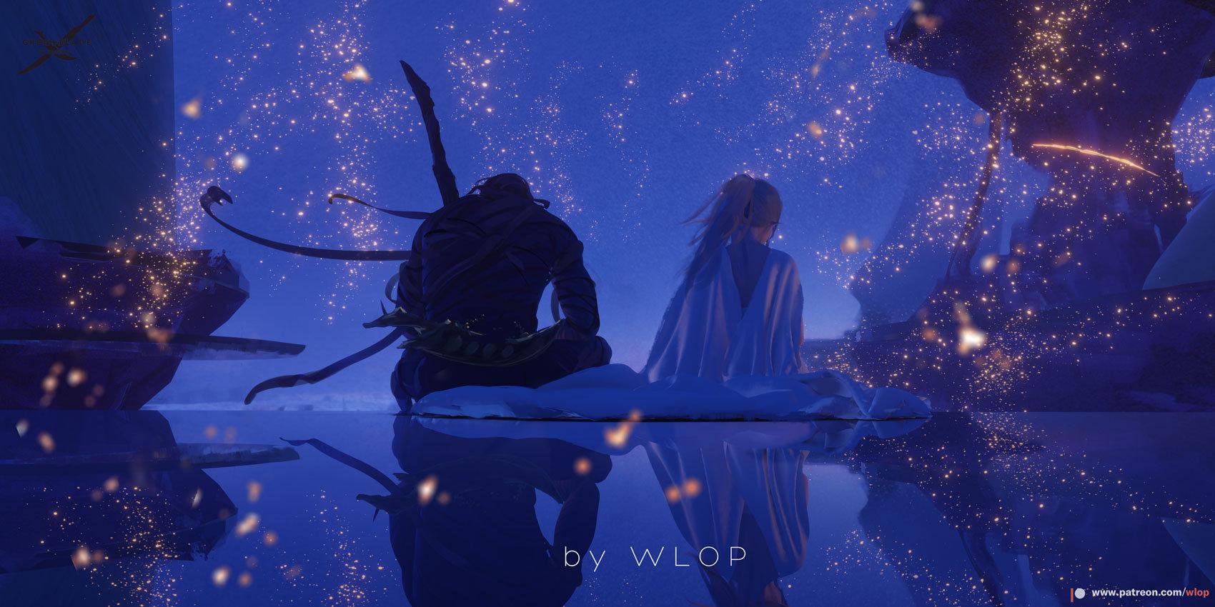 Wallpaper : WLOP, Ghost Blade, anime girls 1700x850 ...