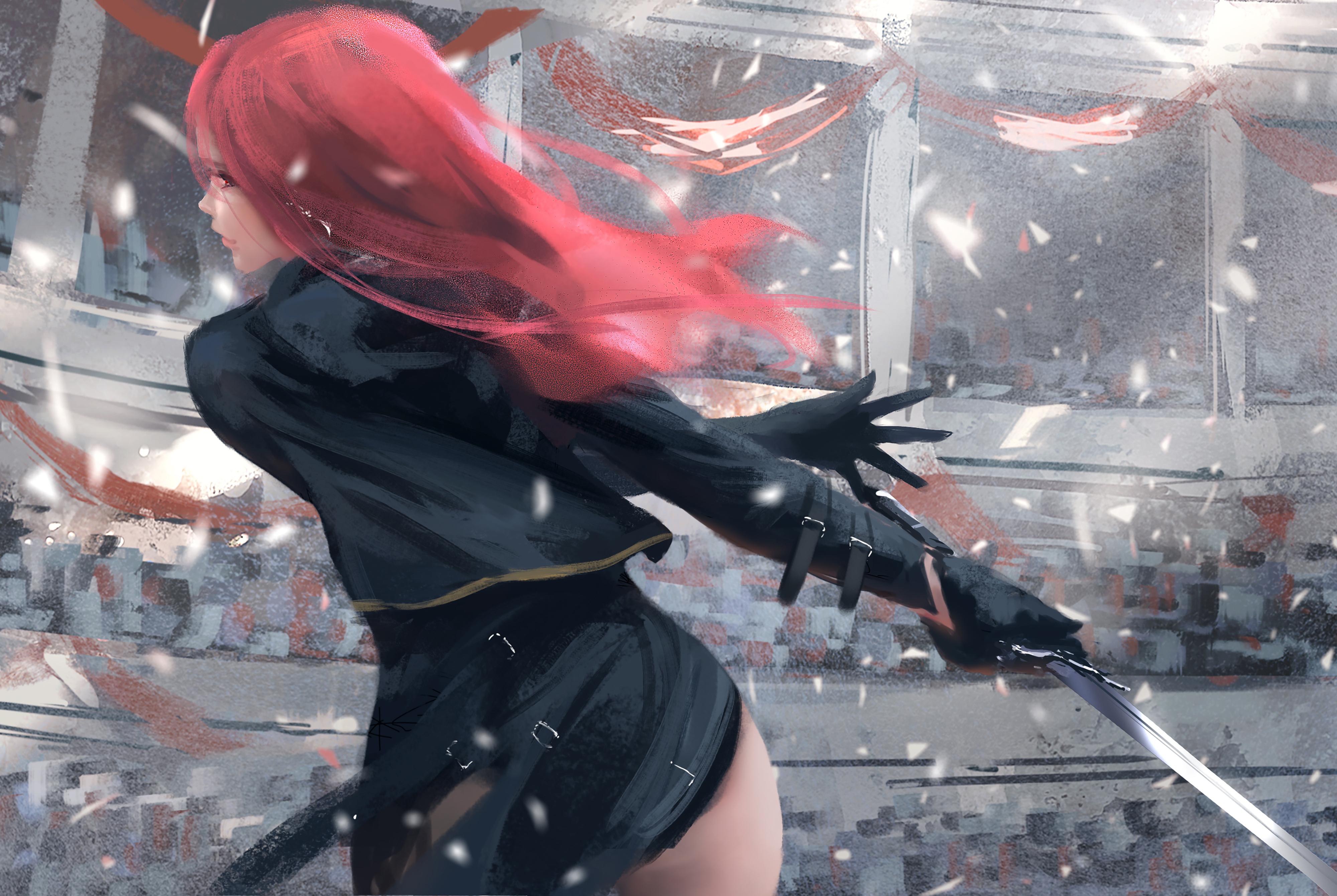 Wallpaper : WLOP, Ghost Blade, women, redhead, digital art