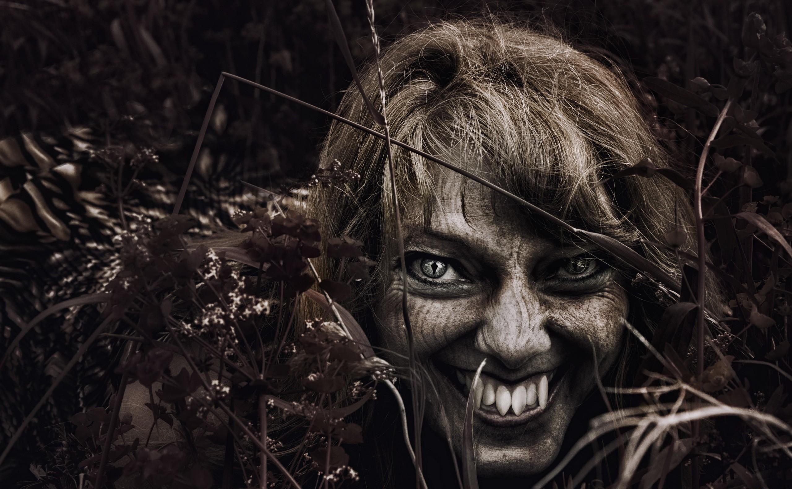 Wallpaper : Werewolf, teeth, face, grass 2560x1580