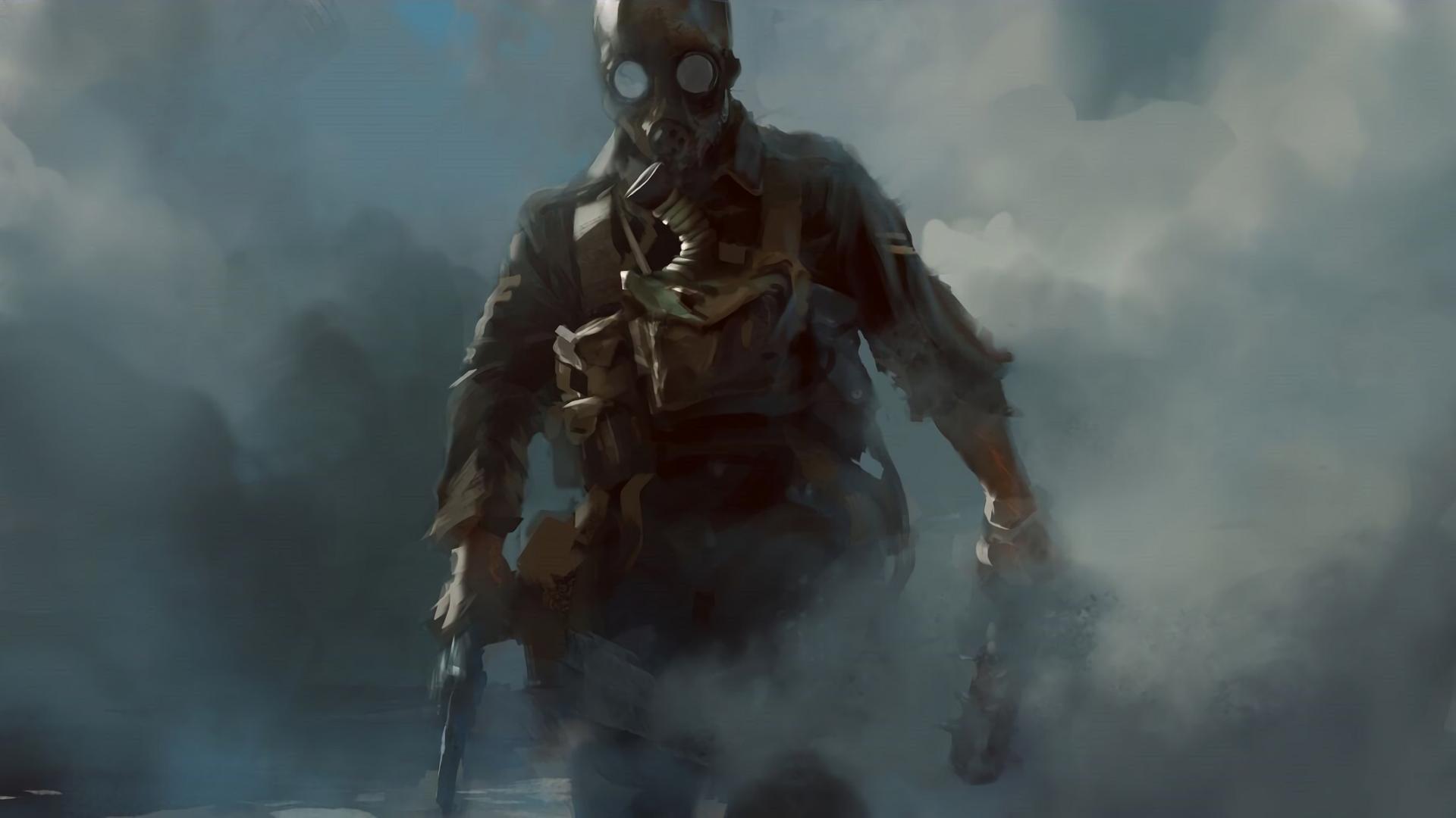 World War I Revolver Club Gas Masks Soldier Smoke Video Games Battlefield One 1