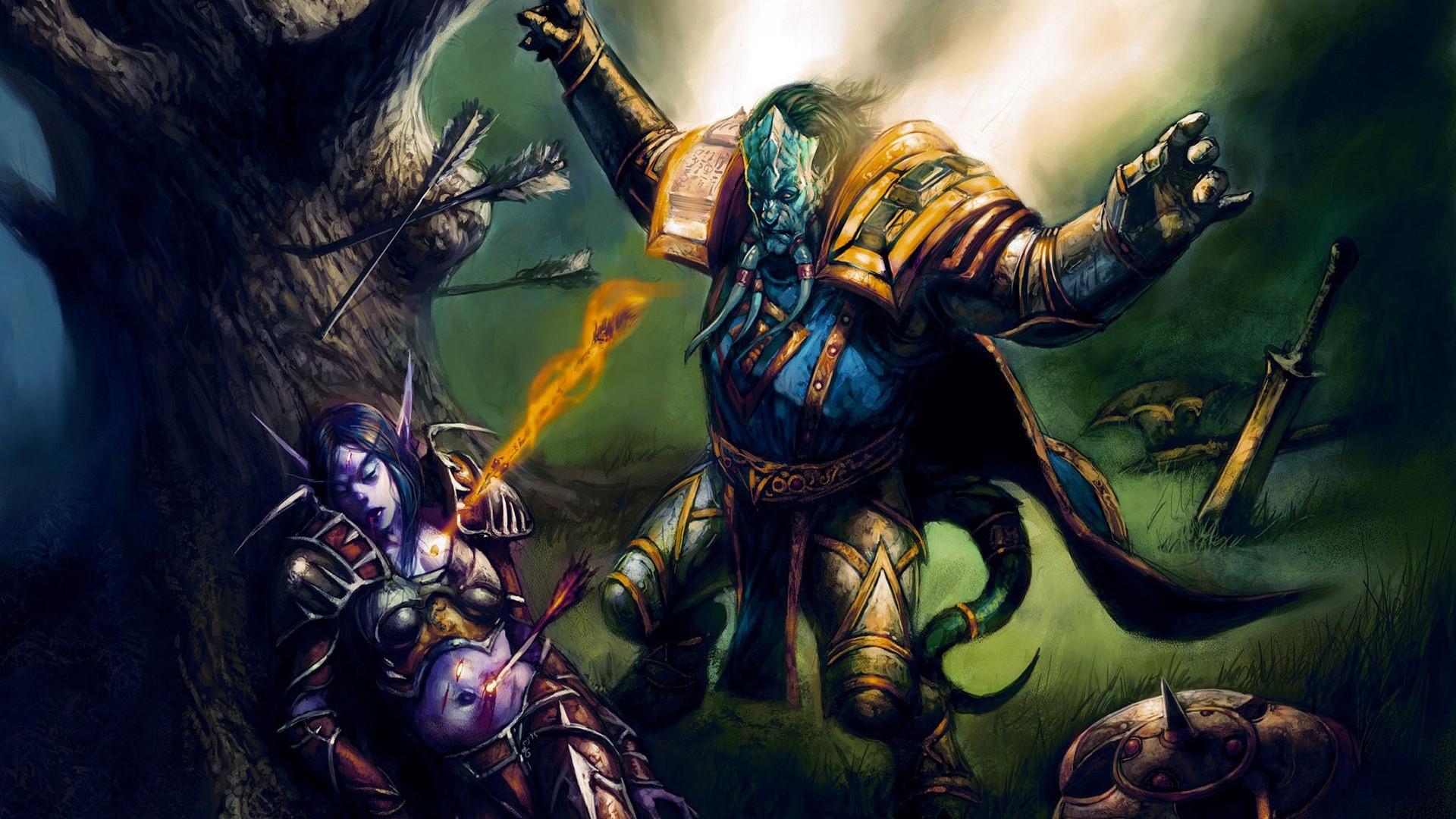 Wallpaper World Of Warcraft Fan Art Elf Tree Sword