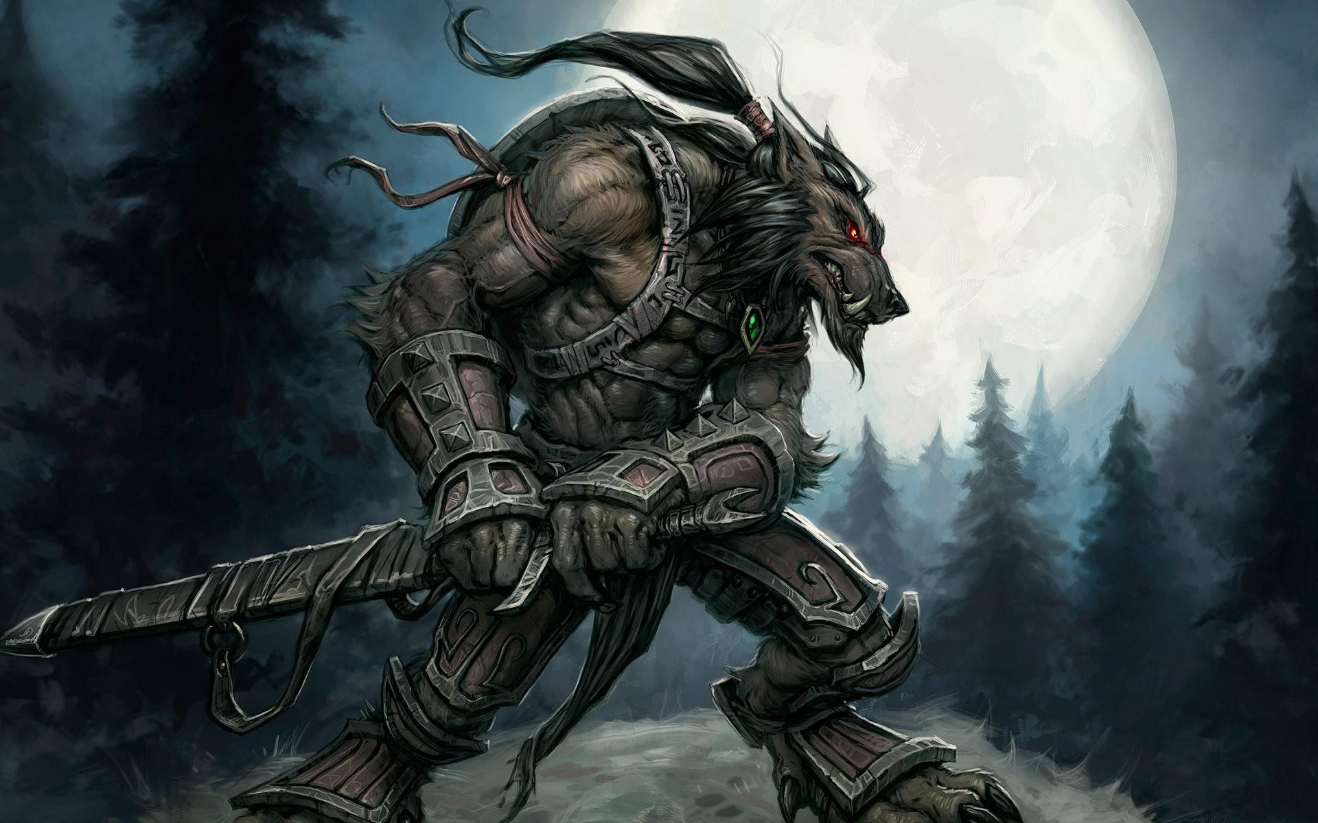 Wallpaper World Of Warcraft Sword Character Moon