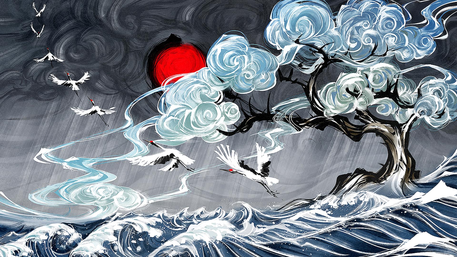 Wallpaper Yuumei Digital Art Water Clouds Waves