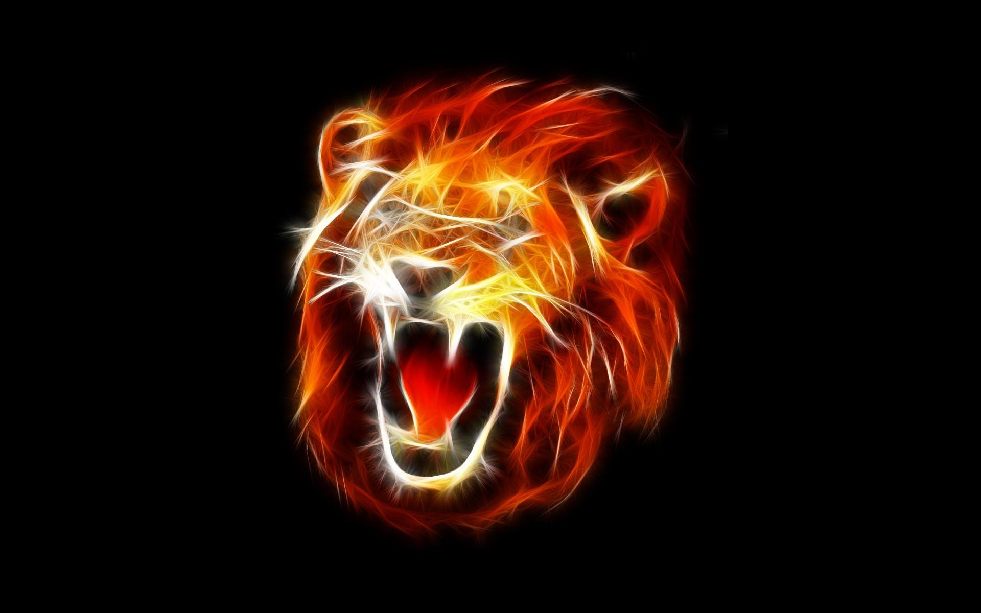 Abstract Lion Fire Big Cats Roar Flame Darkness Graphics 1920x1200 Px Computer Wallpaper Fractal Art Font