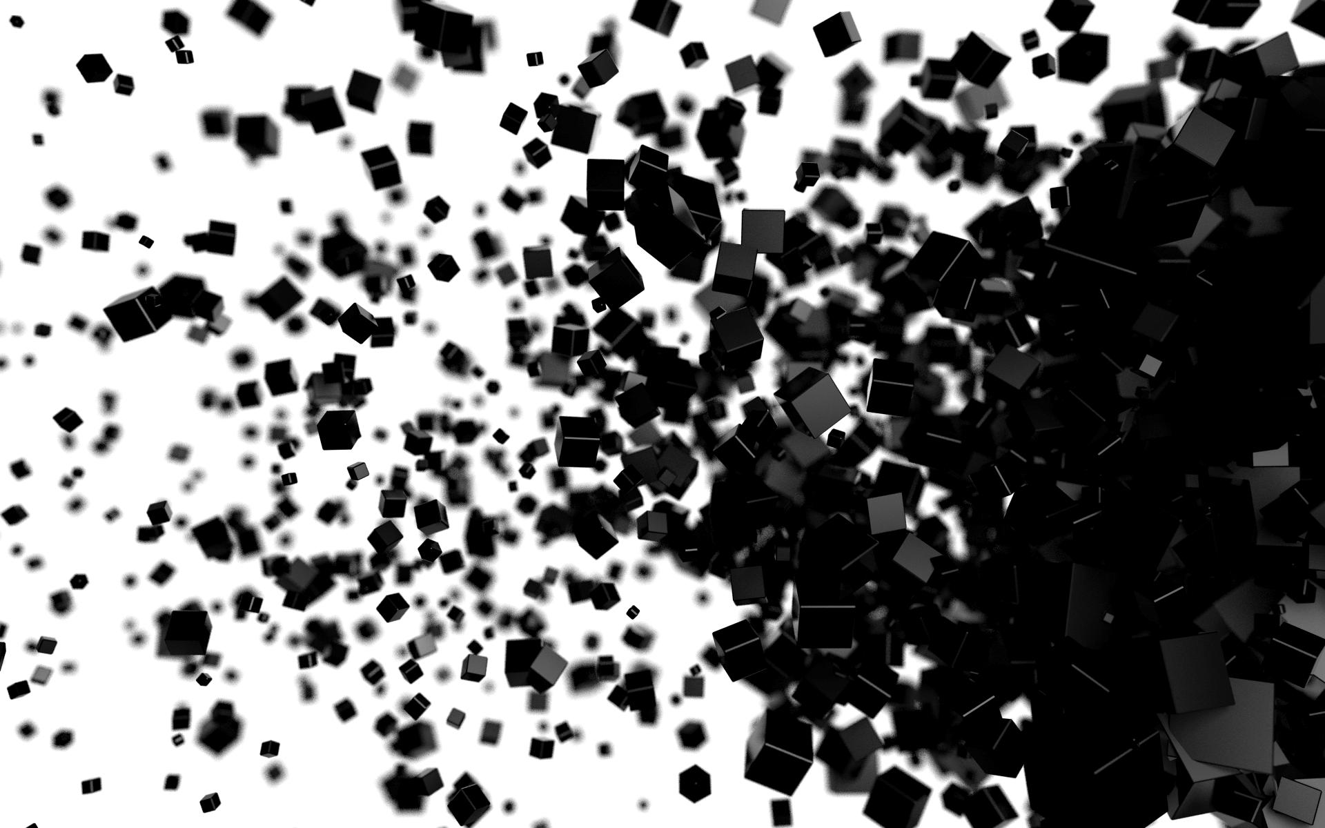 Papel De Parede Abstrato Fundo Branco 3d Cgi Cubo Preto