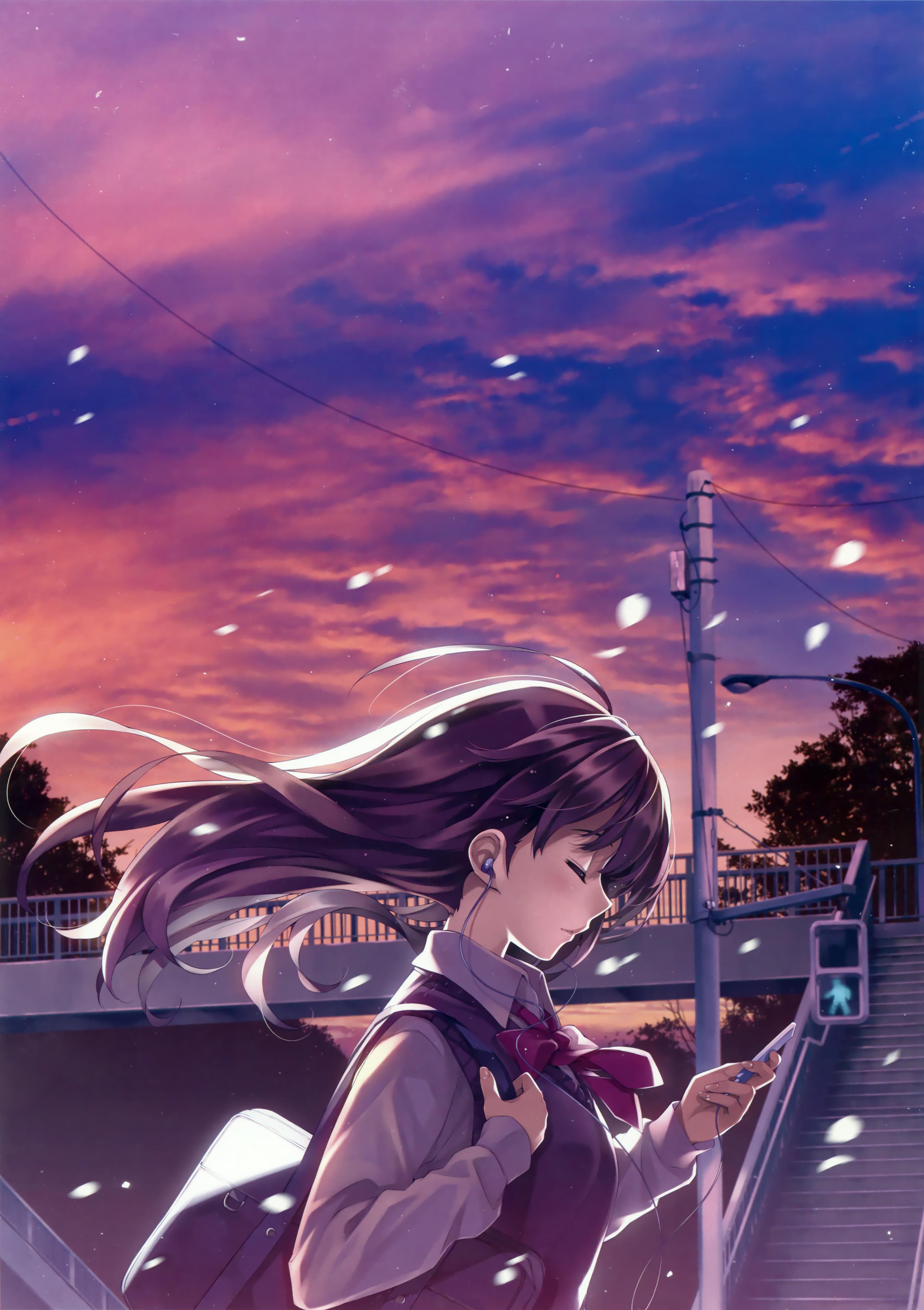 Wallpaper Alone Long Hair Schoolgirl Anime Girls 2597x3683