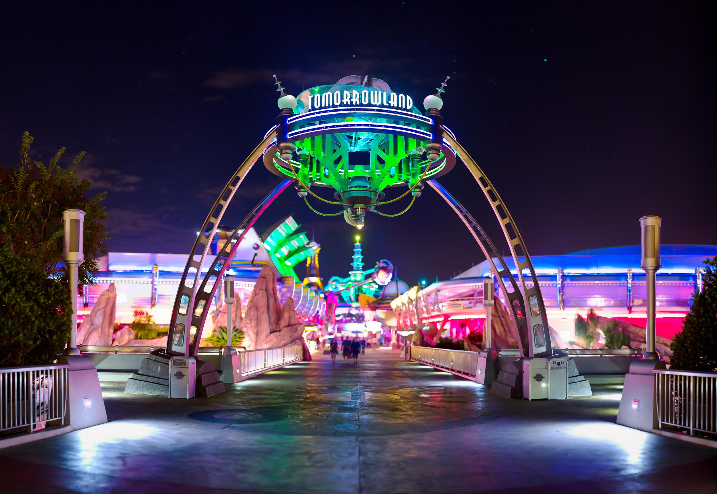 Обои Rollercoaster ride, ночь. Города foto 9