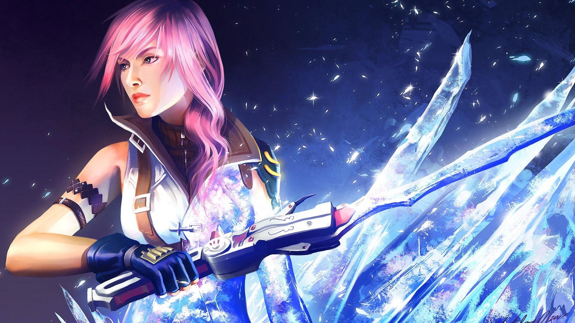 Wallpaper Anime Final Fantasy Xiii Guitarist Art Girl
