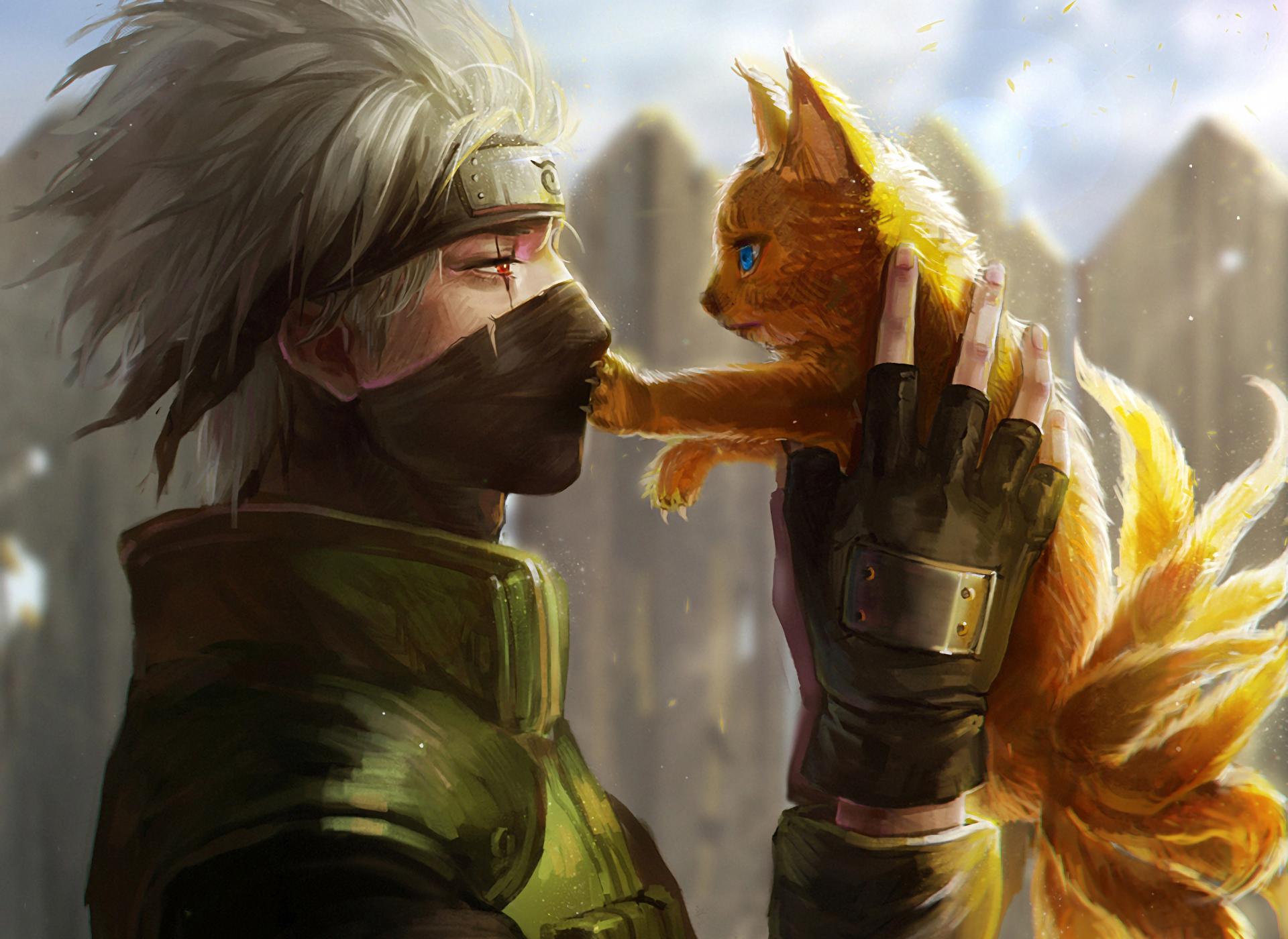 Fond d 39 cran anime ninja hatake kakashi naruto - Naruto renard ...