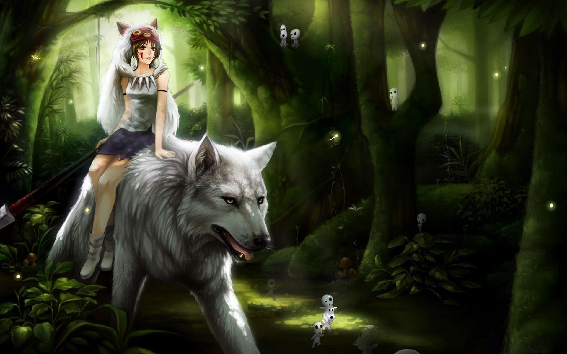 Wallpaper Anime Princess Mononoke Studio Ghibli Jungle
