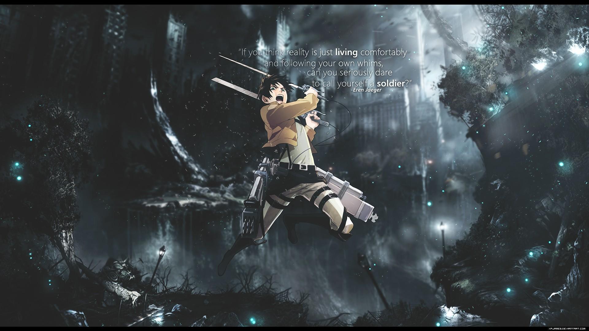 Wallpaper Anime Shingeki No Kyojin Eren Jeager Darkness