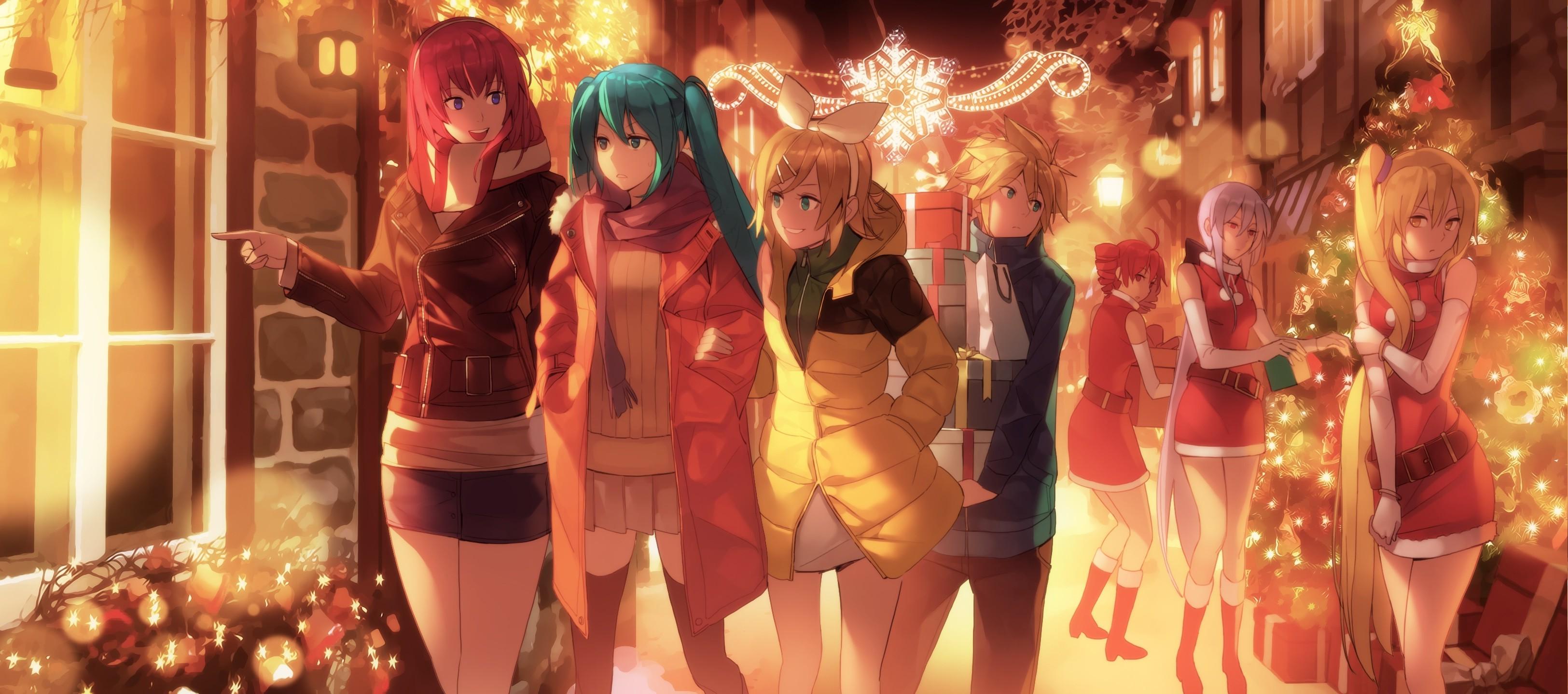 wallpaper : anime, vocaloid, hatsune miku, christmas tree, kagamine
