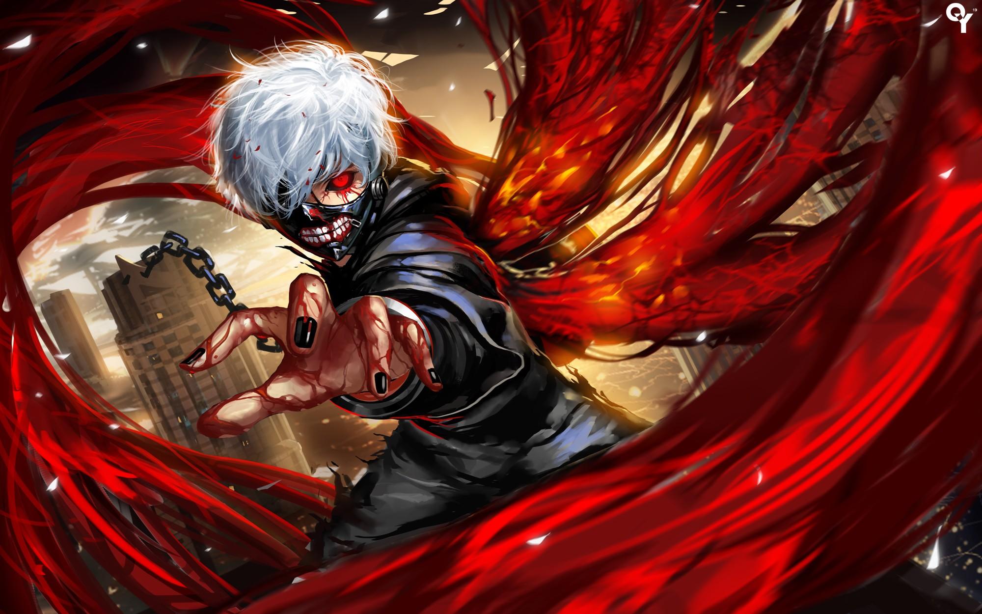 Wallpaper : Anime Boys, Red, Superhero, Kaneki Ken, Tokyo