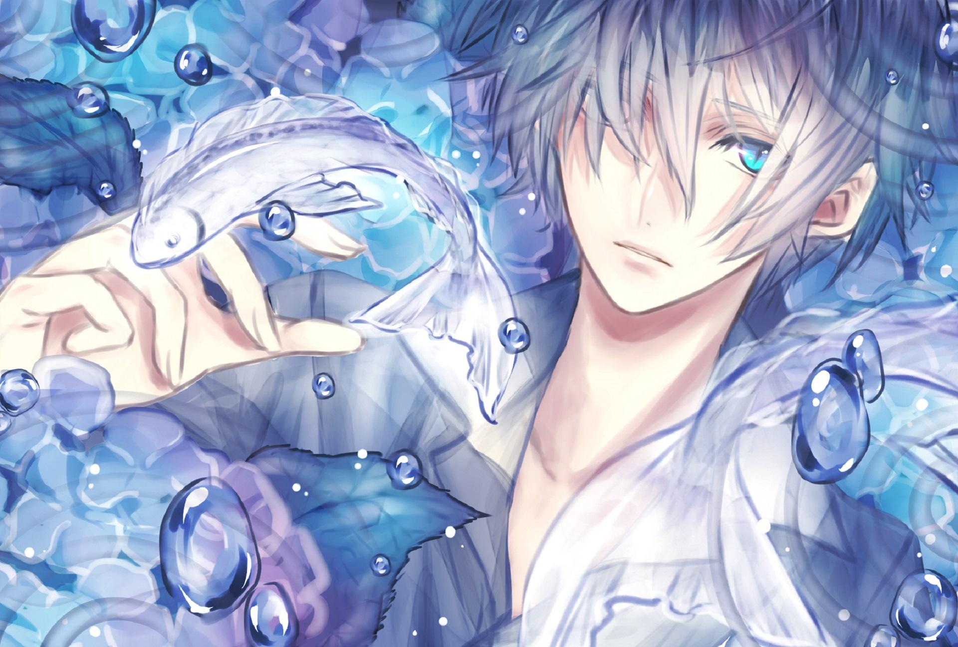 Wallpaper : anime boys, white hair, blue eyes, original ...