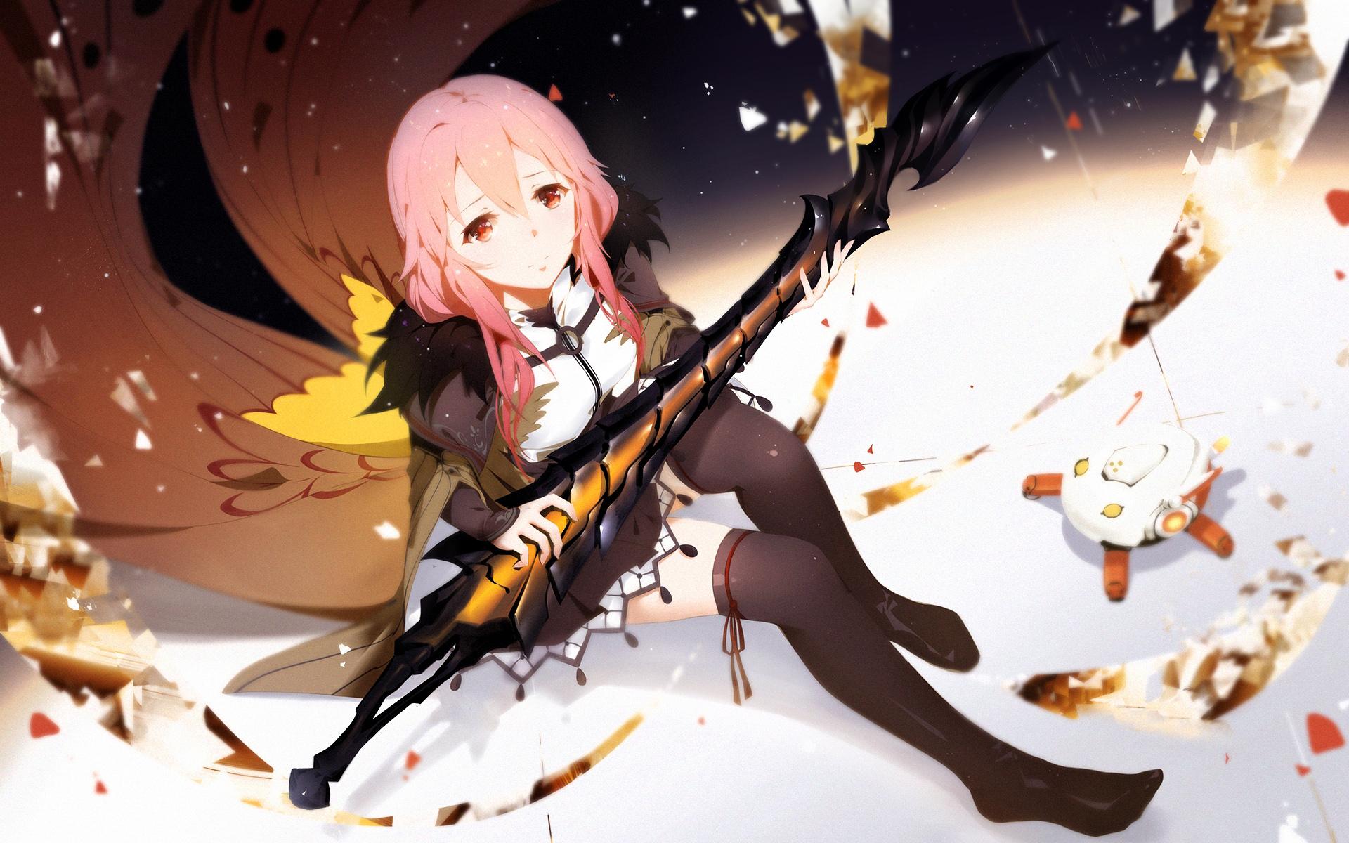 Anime anime girls inori yuzuriha guilty crown sword red eyes pink hair leggings sitting looking up