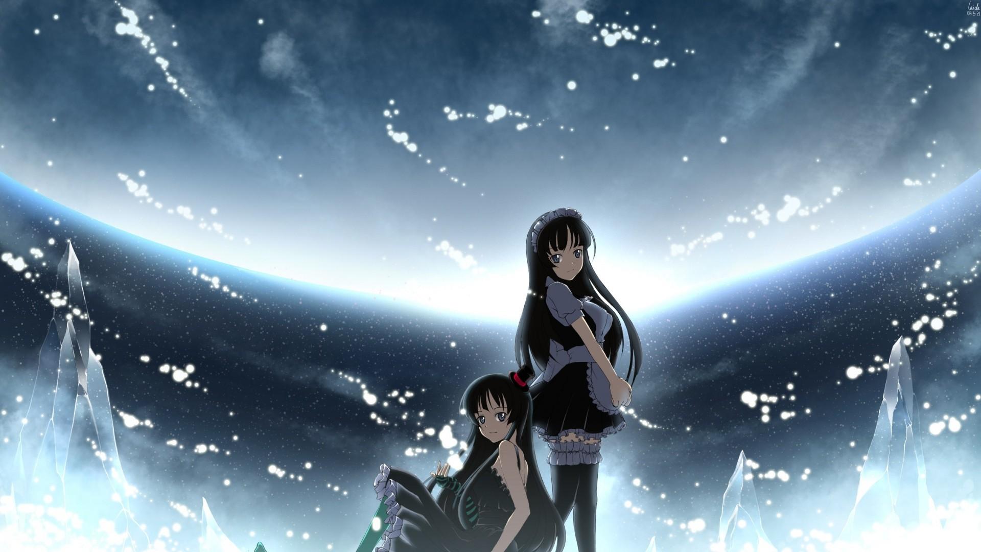 Anime Girls K ON Akiyama Mio Universe Midnight Screenshot 1920x1080 Px Computer Wallpaper Outer Space