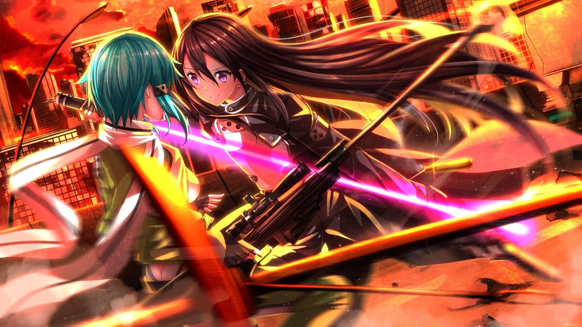 Anime Girls Sword Art Online Kirigaya Kazuto Asada Shino Swordsouls Gun Gale Games Screenshot