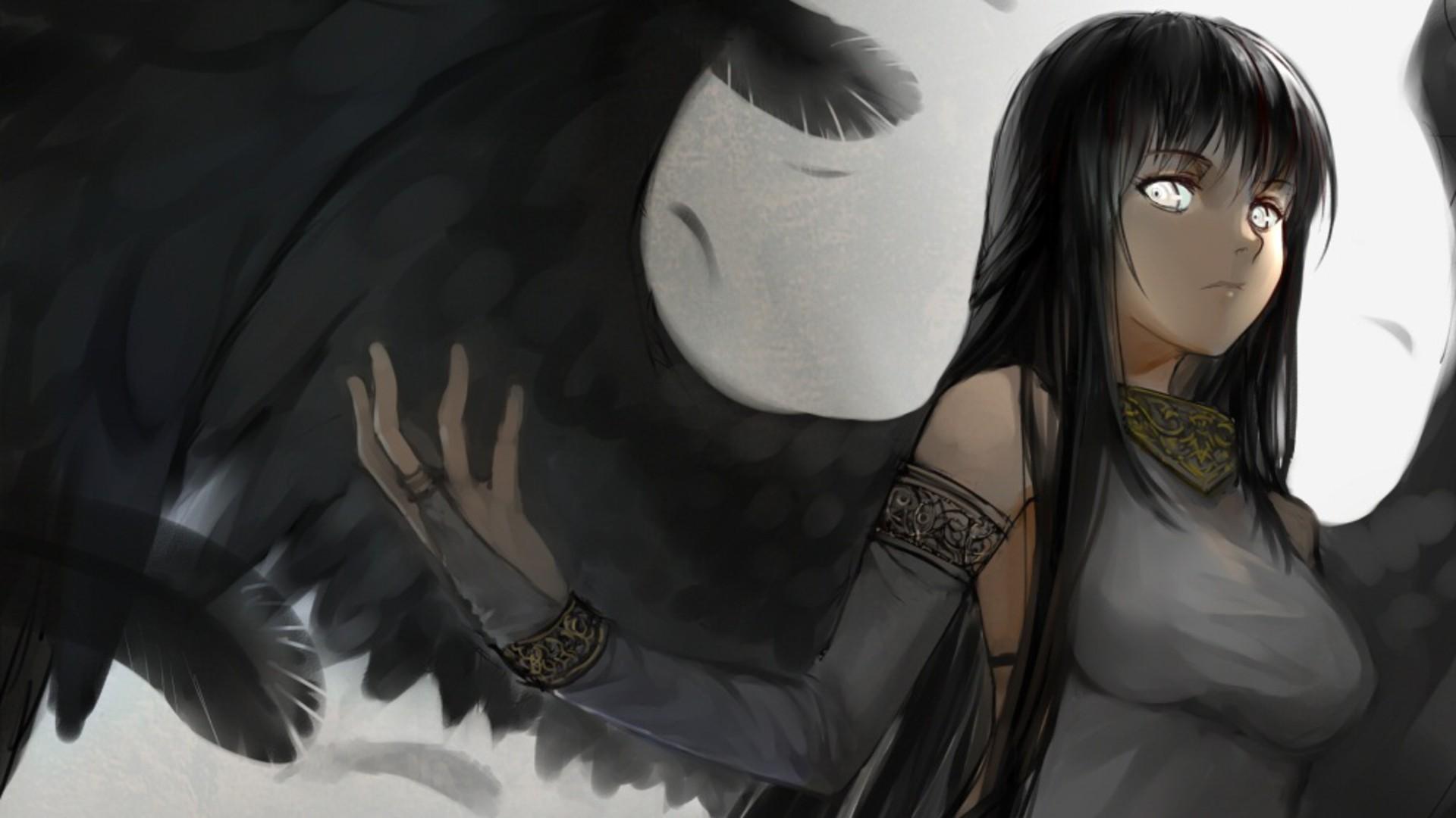 Wallpaper Anime Girls Angel Black Hair Morrigan Character