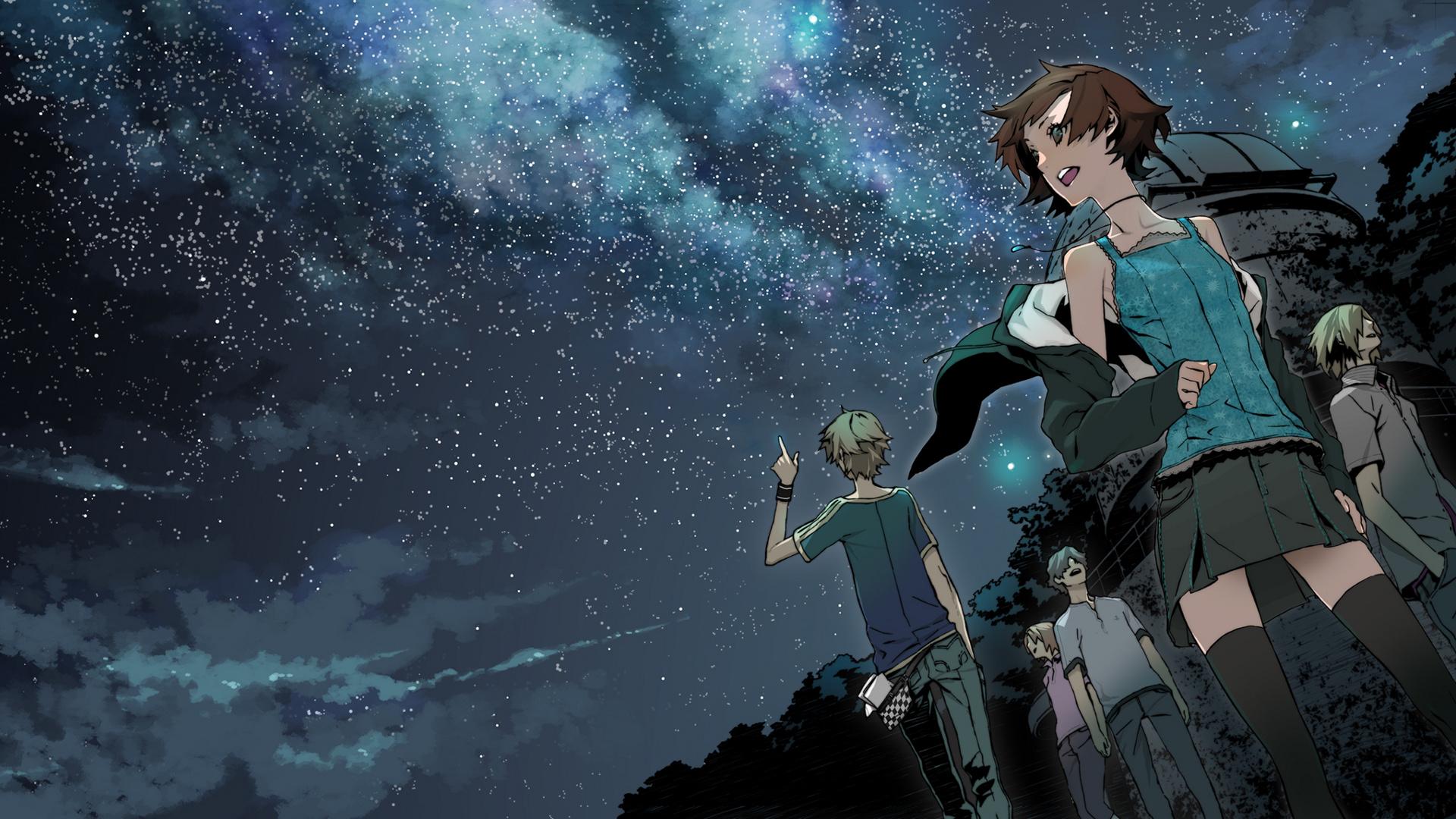 デスクトップ壁紙 アニメの女の子 アニメ少年 スペース 星