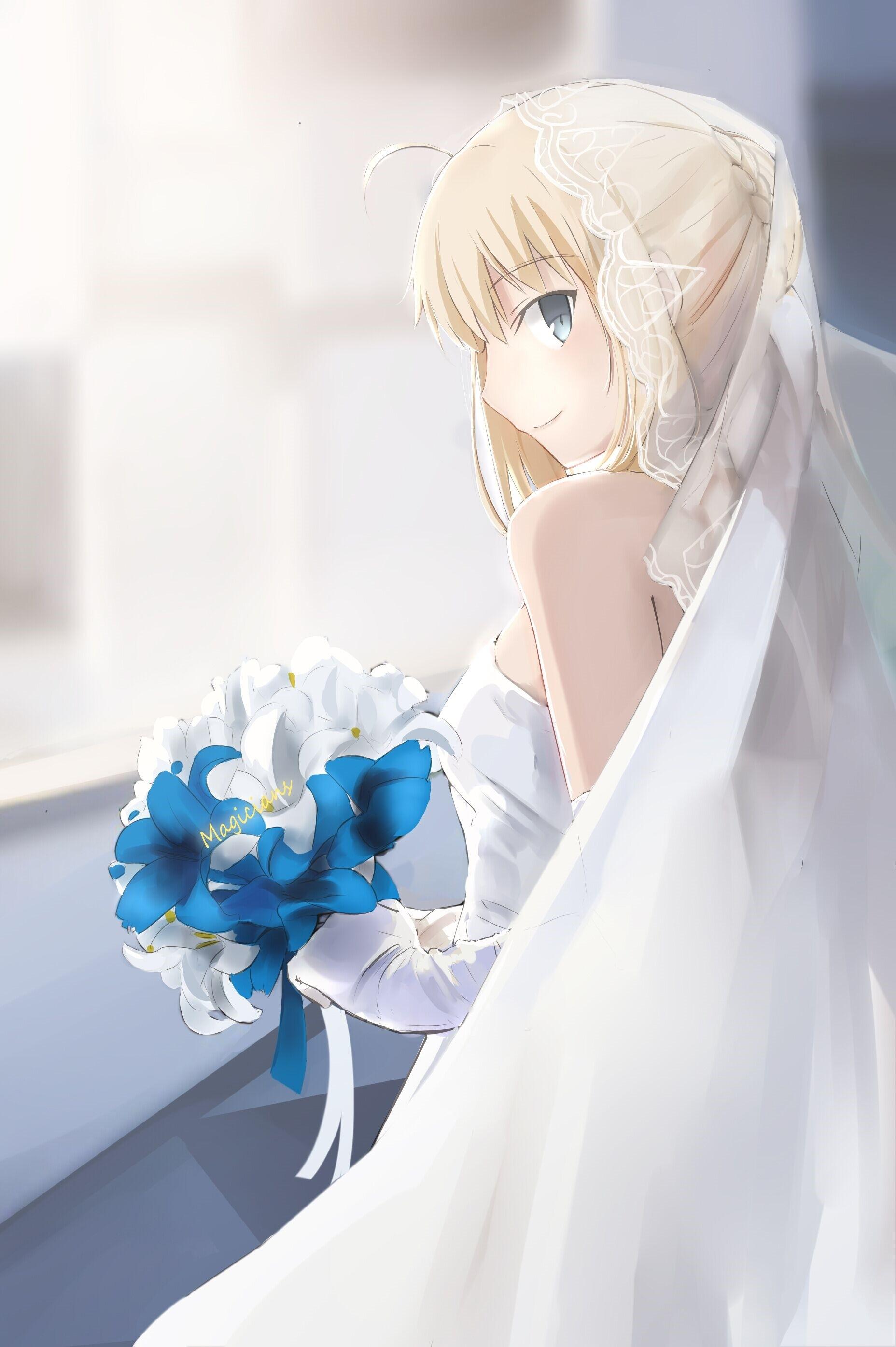 Hintergrundbilder : Anime Mädchen, Kunstwerk, blau, Schicksal ...