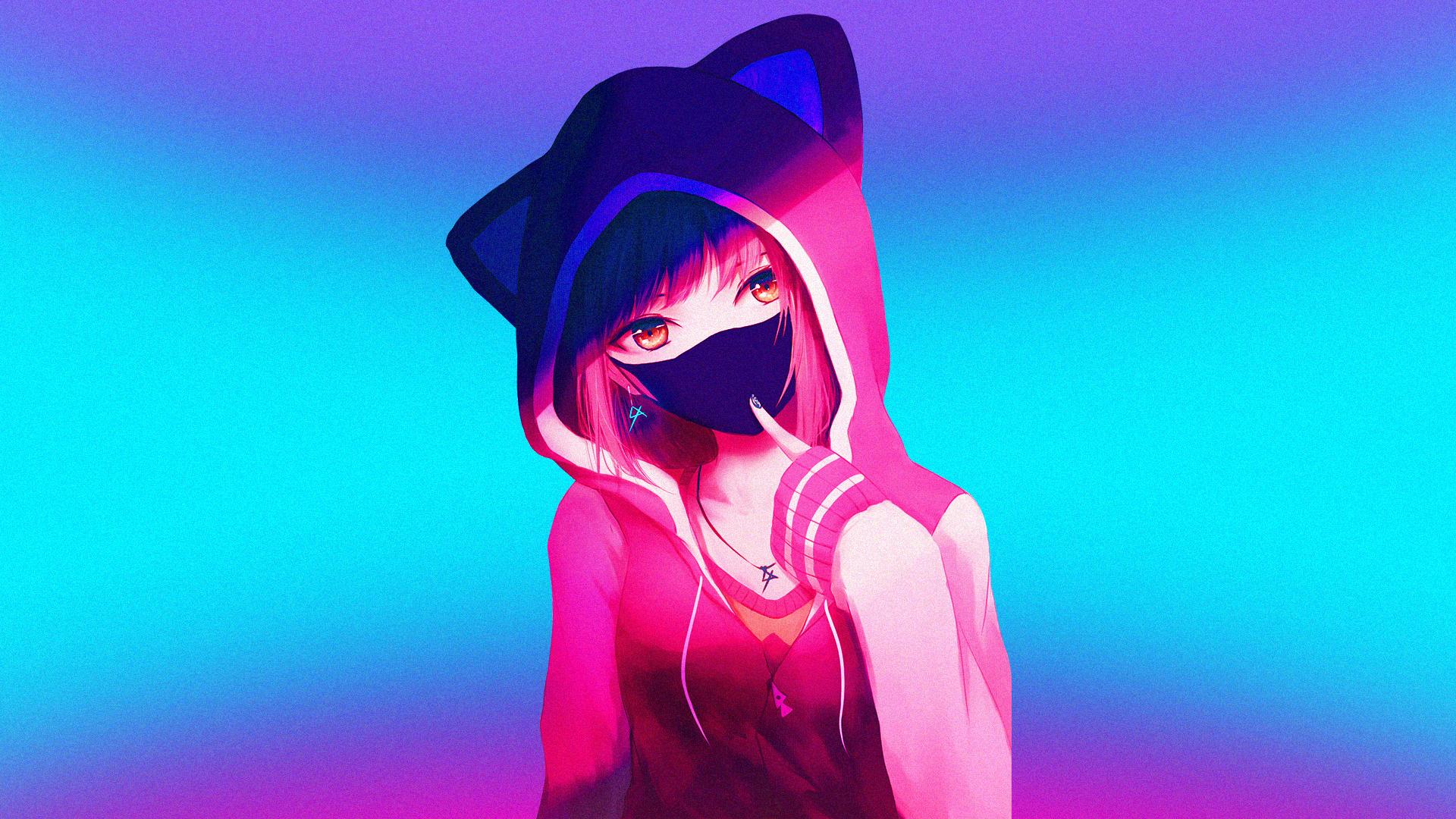 Wallpaper anime girls artwork simple background - Anime wallpaper hoodie ...