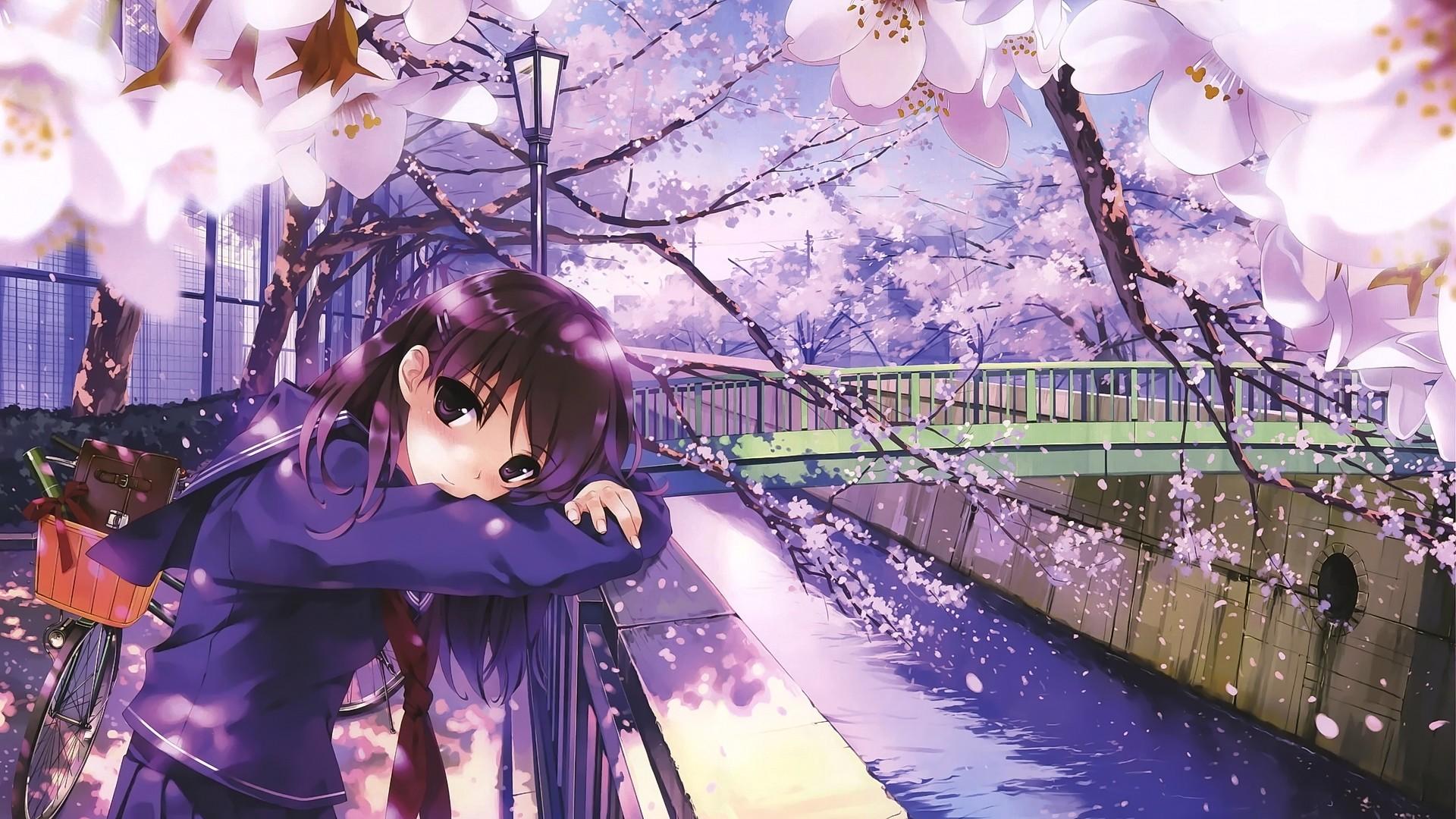 Fondos de pantalla : Anime, Chicas anime, bicicleta, puente