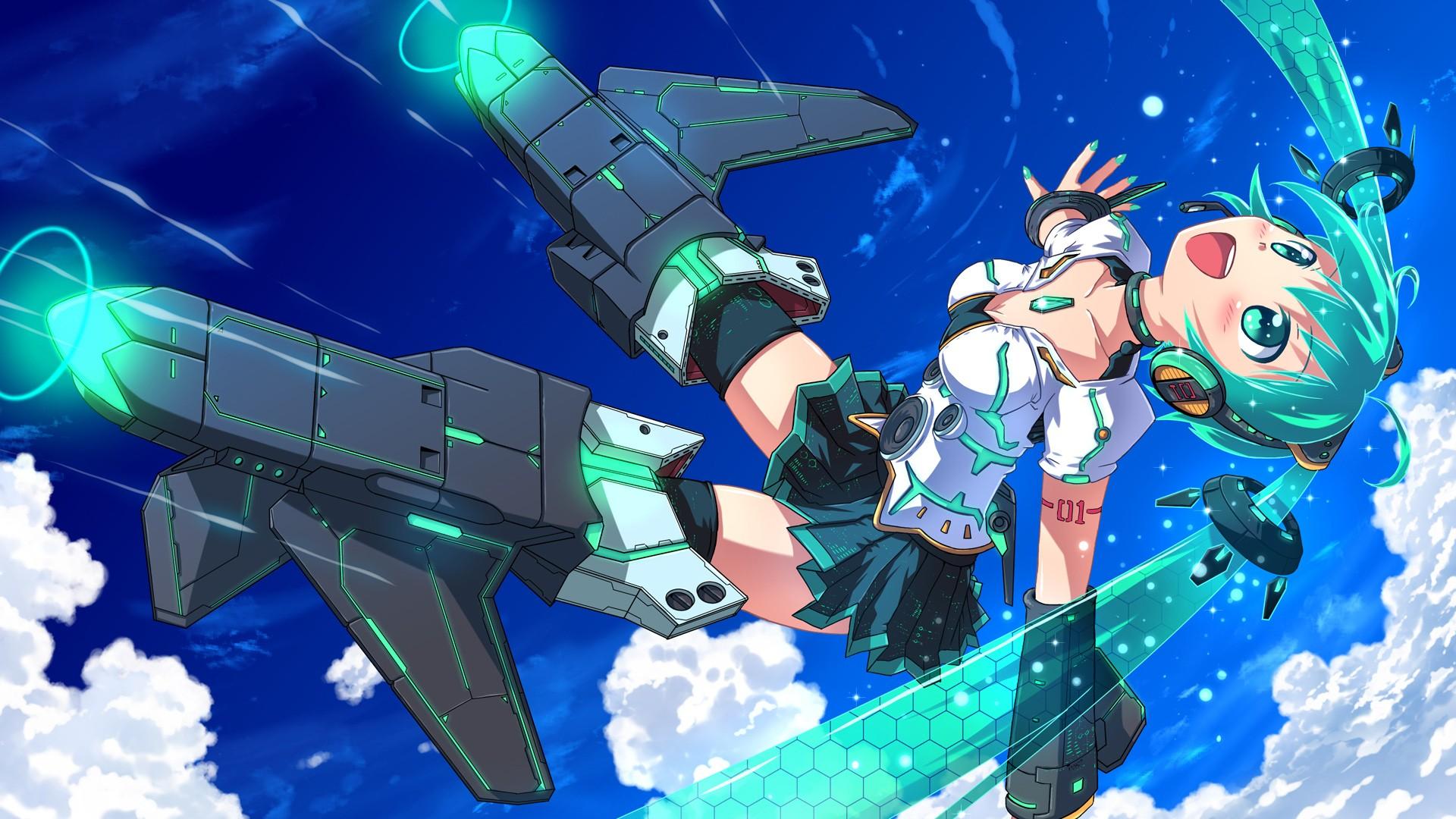 デスクトップ壁紙 アニメの女の子 青い髪 雲 クロスオーバ 飛行