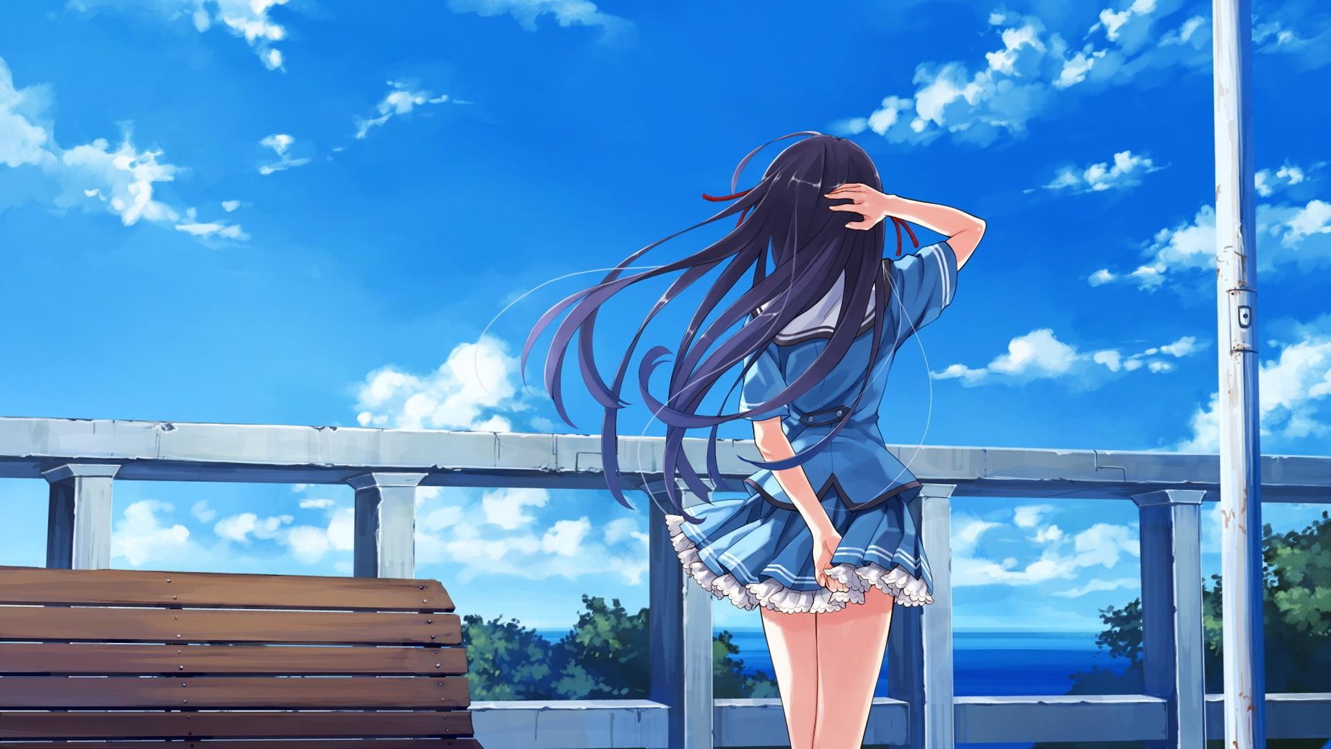 Wallpaper Anime Girls Blue Visual Novel Deep Blue Sky Pure