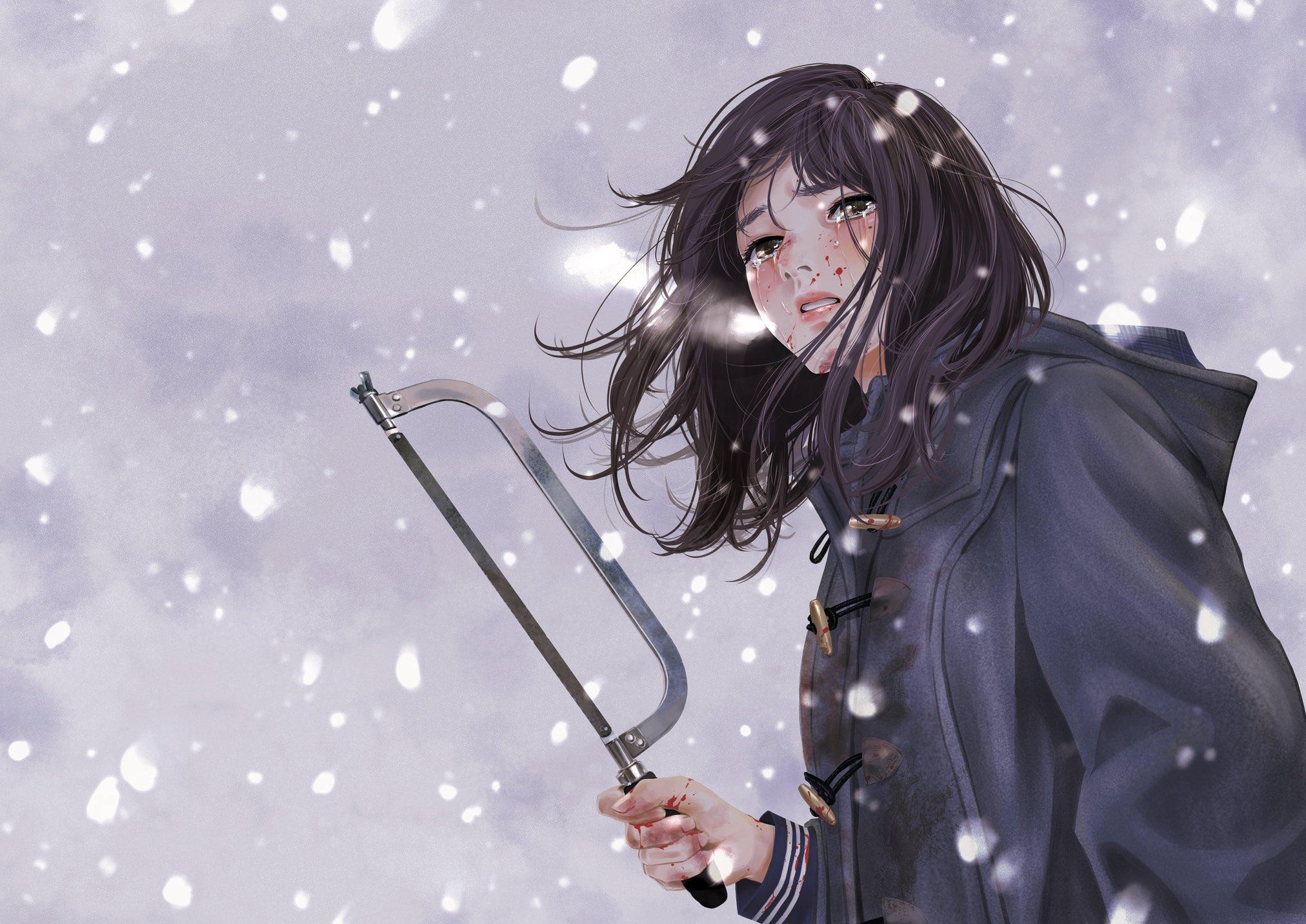 Wallpaper : anime girls, crying, dark hair, long hair, blood