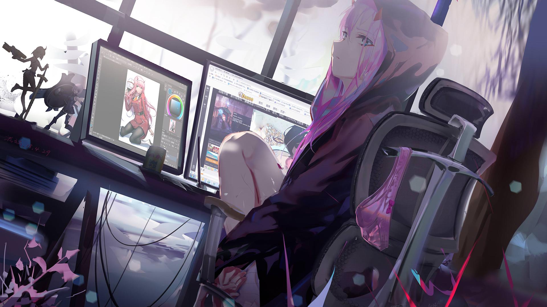 Papel de parede : Anime, Meninas anime, Admirador de arte, Darling