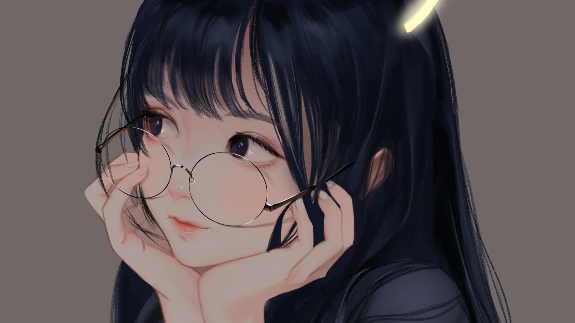 Wallpaper  anime girls, glasses, black hair, long hair, black ...