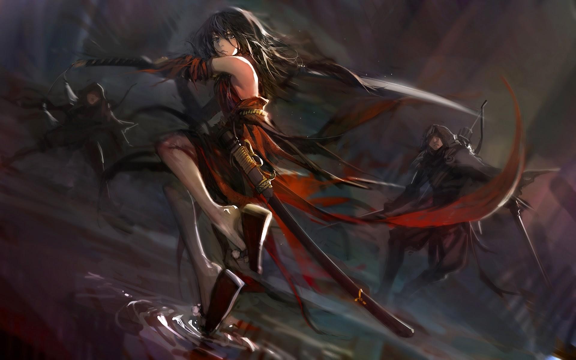 デスクトップ壁紙 アニメの女の子 カタナ 元の文字 悪魔 射手
