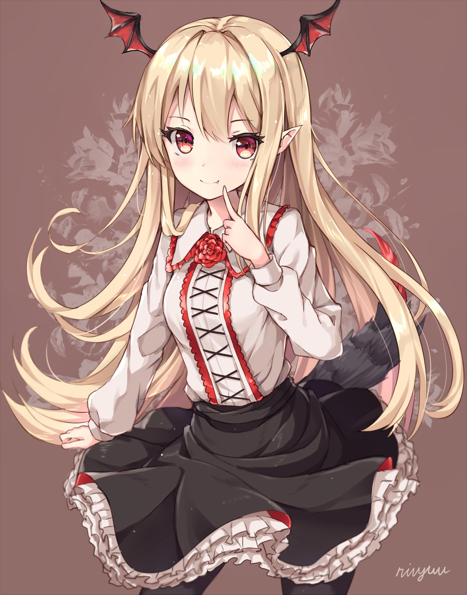 Anime anime girls long hair granblue fantasy blonde wings red eyes tail