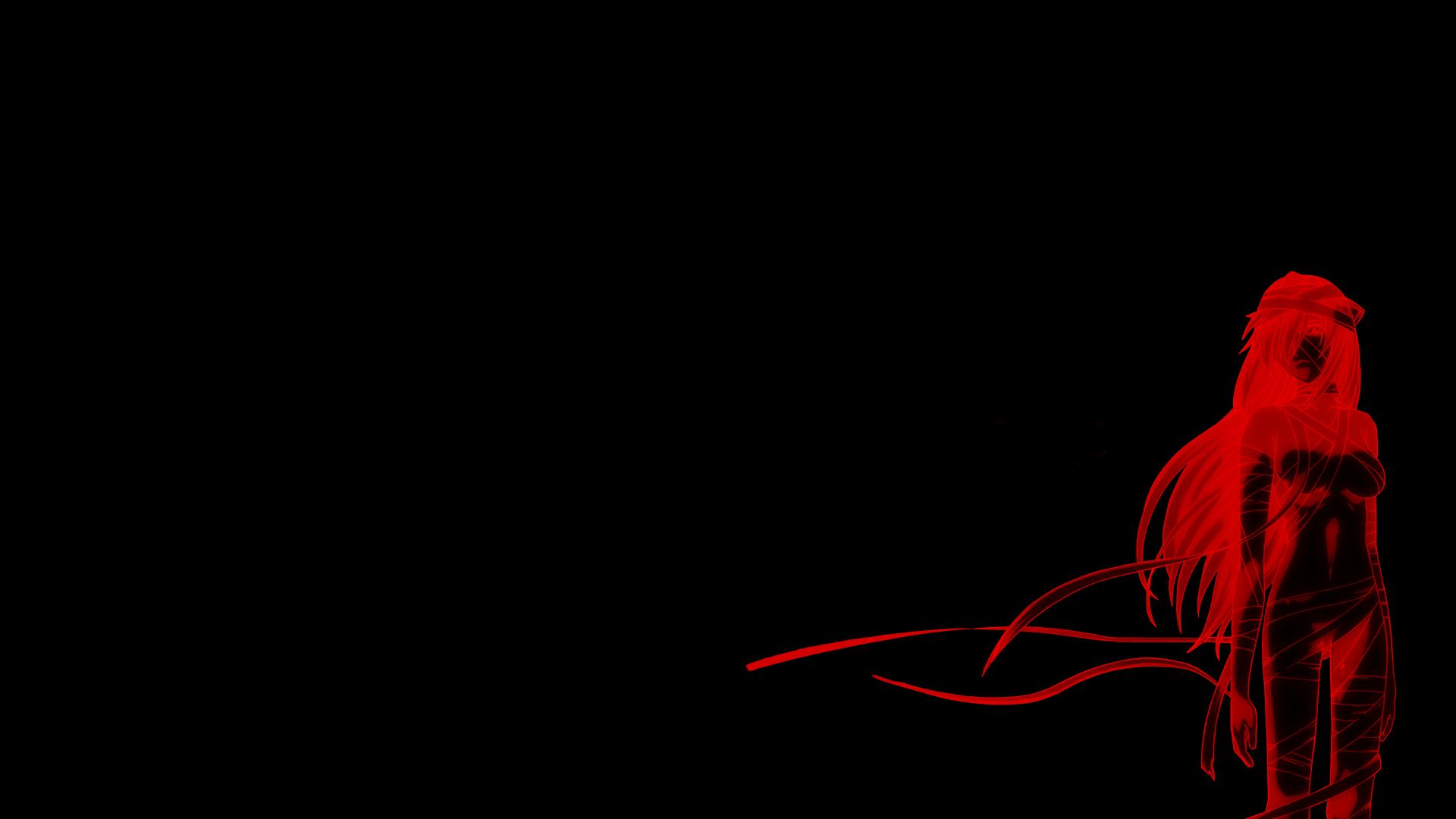 Anime Girls Minimalism Red Elfen Lied Nyu Darkness Screenshot Computer Wallpaper Font