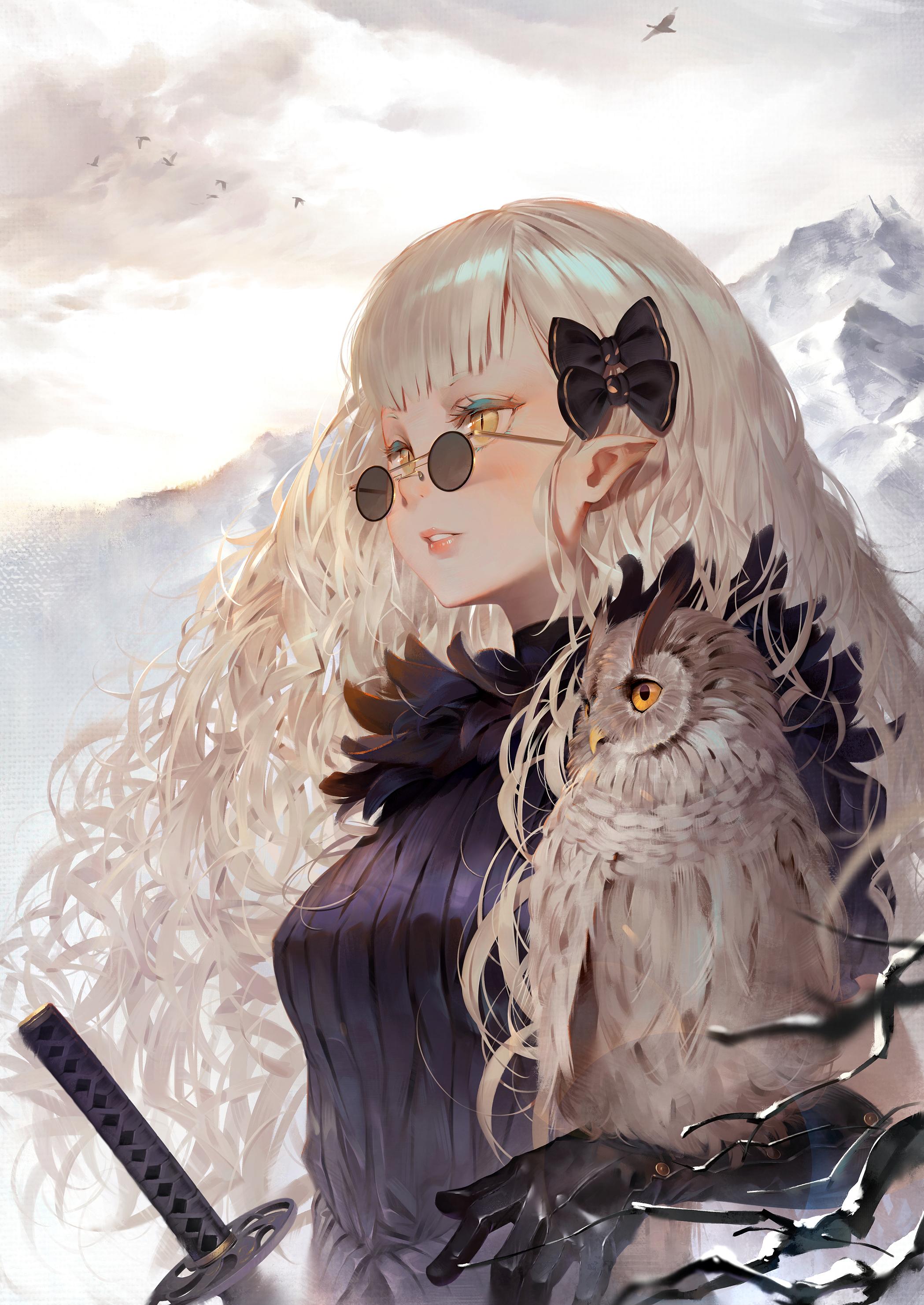 Wallpaper Anime Girls Mountains Sword Katana Gloves Owl