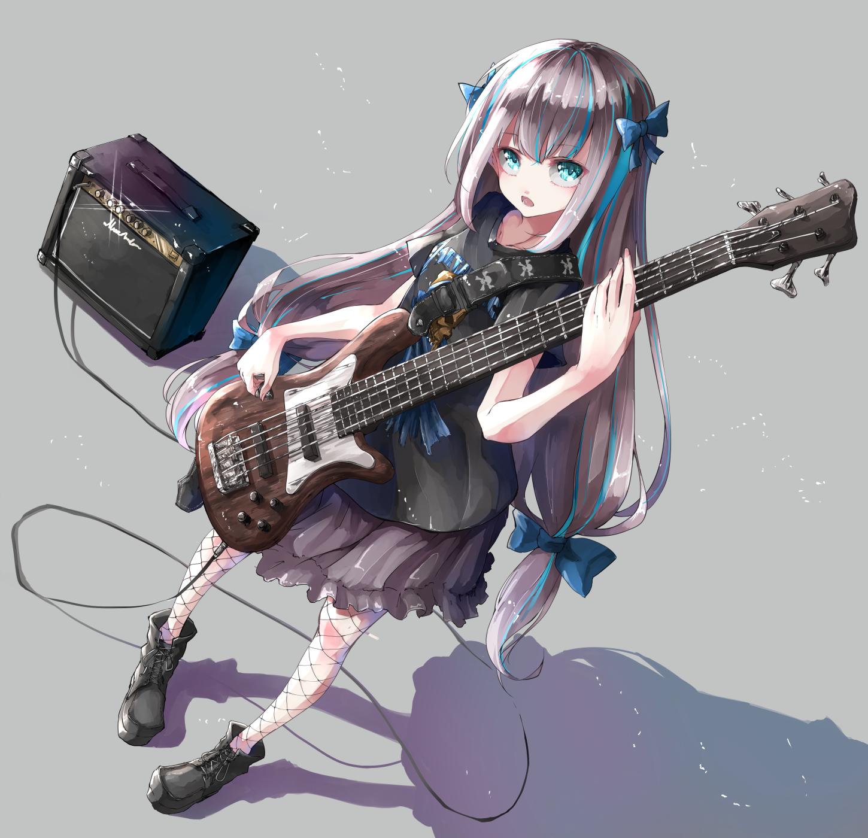 Wallpaper : anime girls, original characters, bass guitars