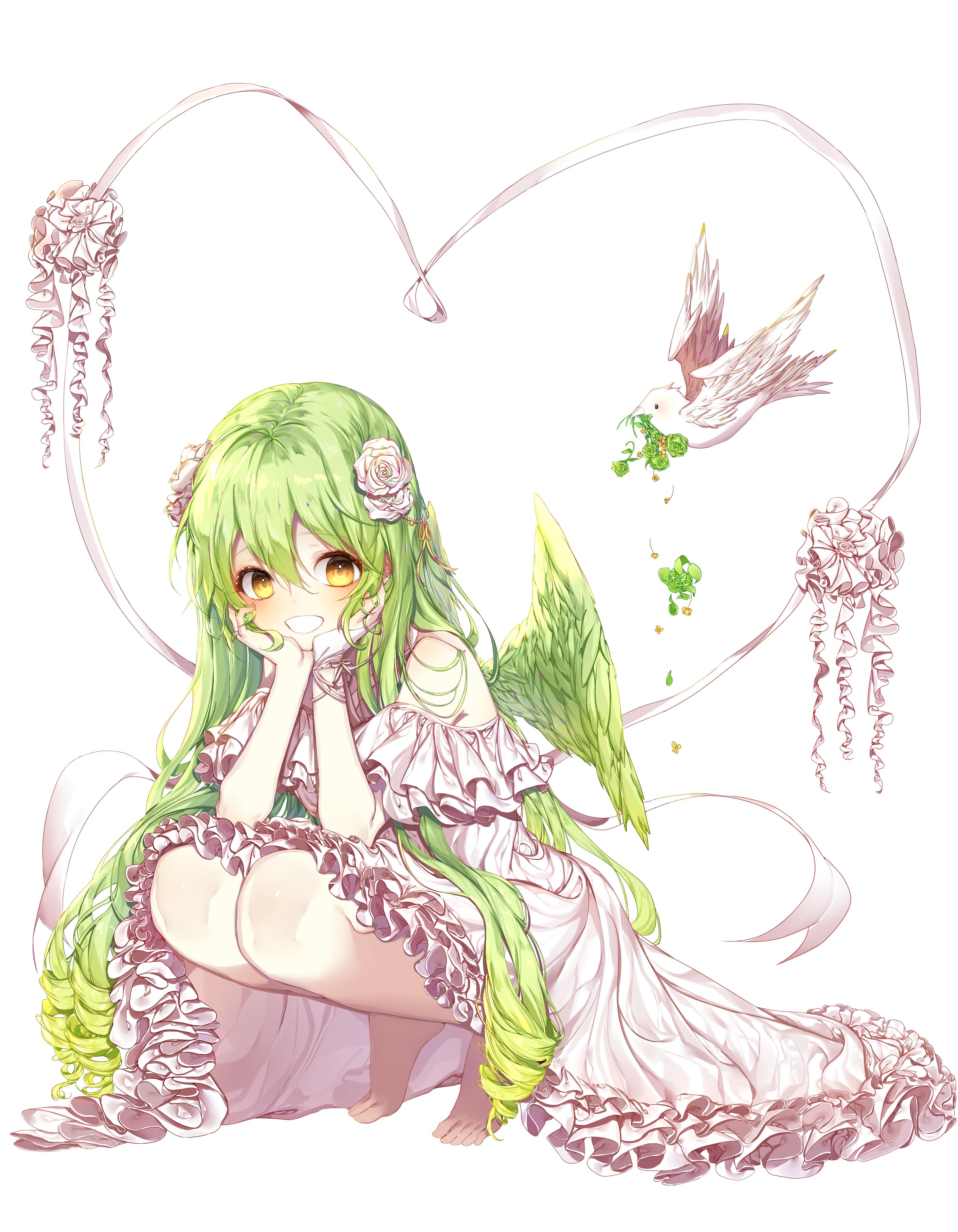 Wallpaper Anime Girls Original Characters Green Hair Flower In Hair 3150x4050 Richs 1554349 Hd Wallpapers Wallhere