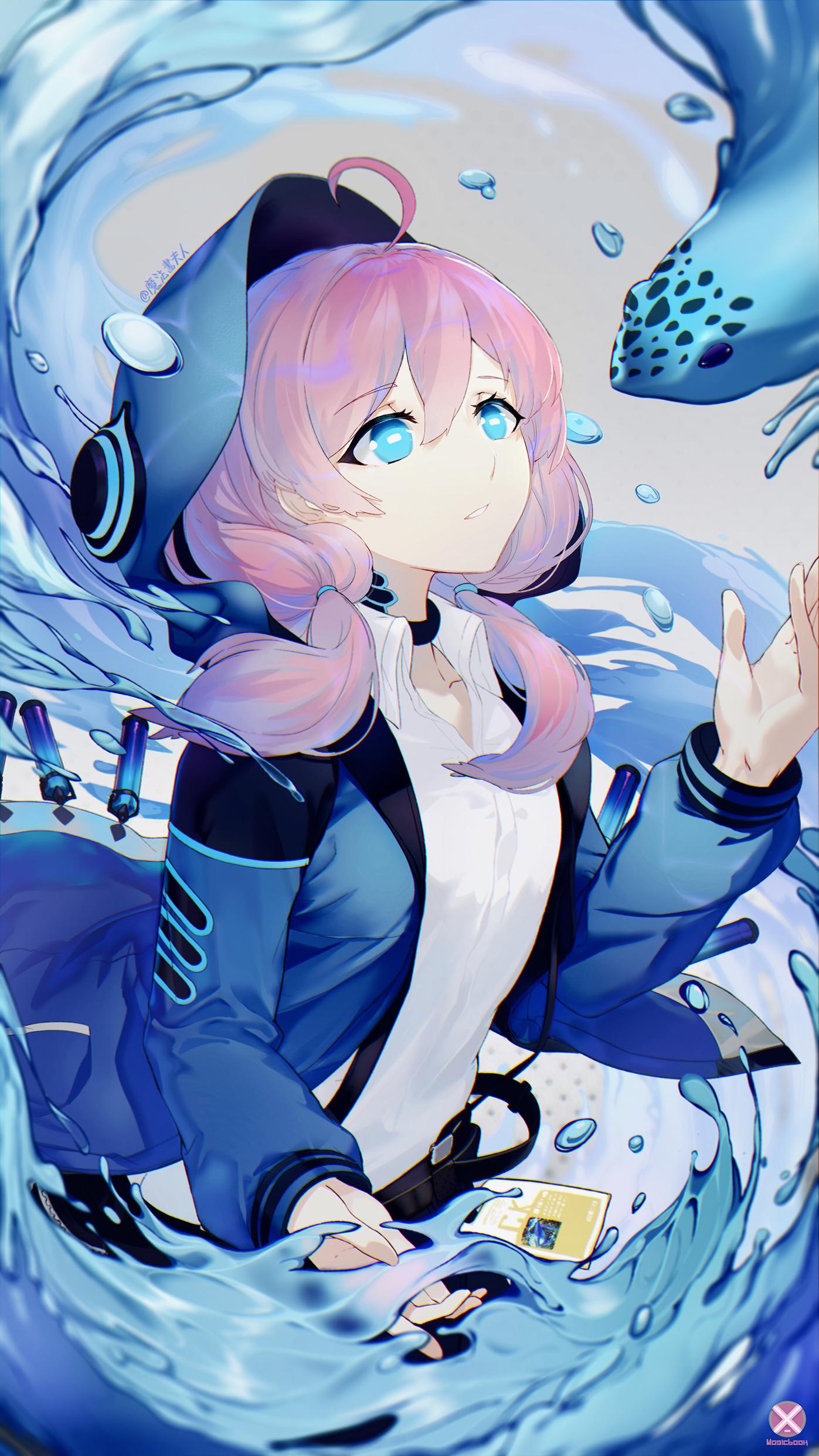 デスクトップ壁紙 アニメの女の子 ピンクの髪 青い目 1397x2484