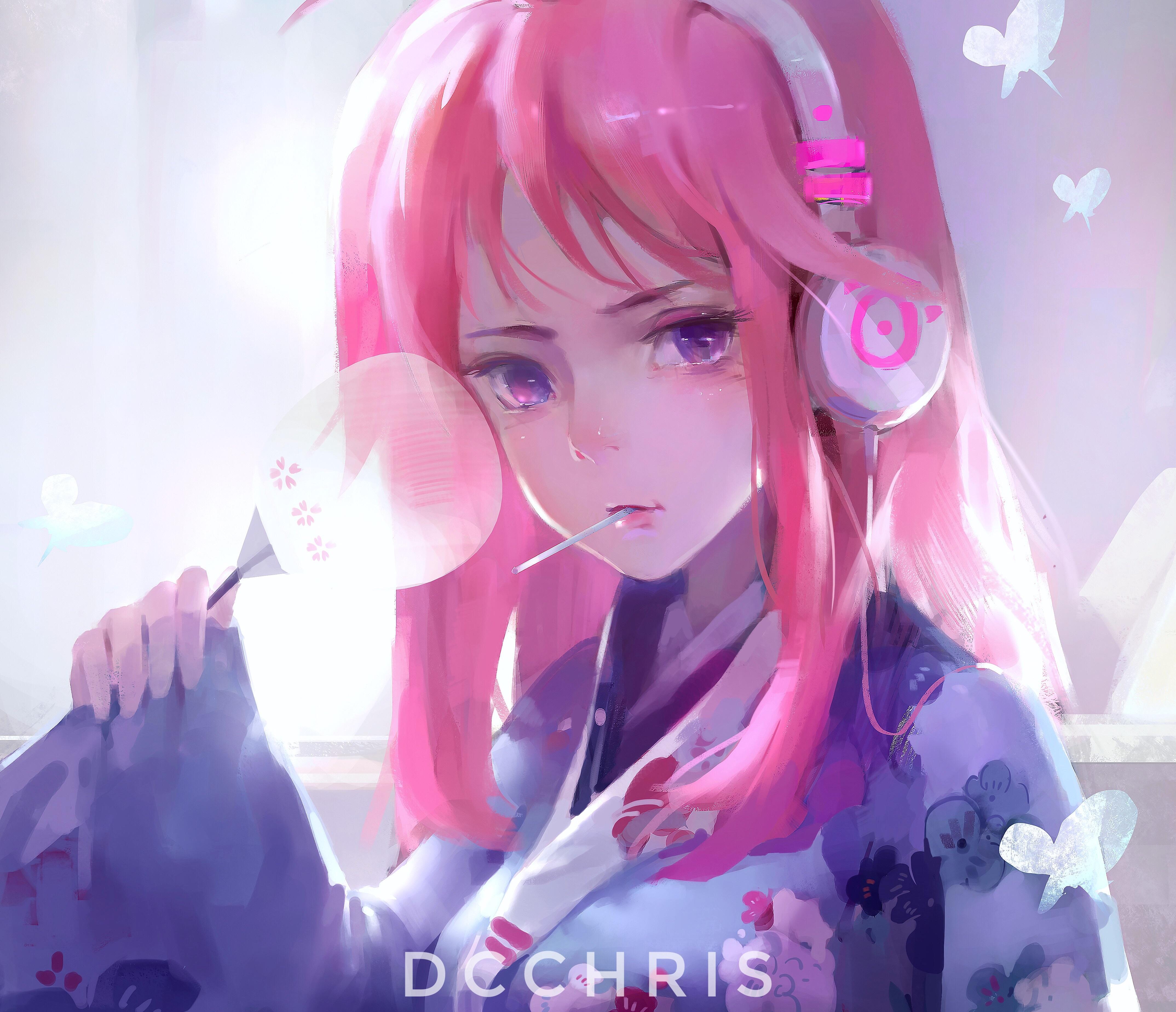 Wallpaper : anime girls, pink hair, headphones 10x10