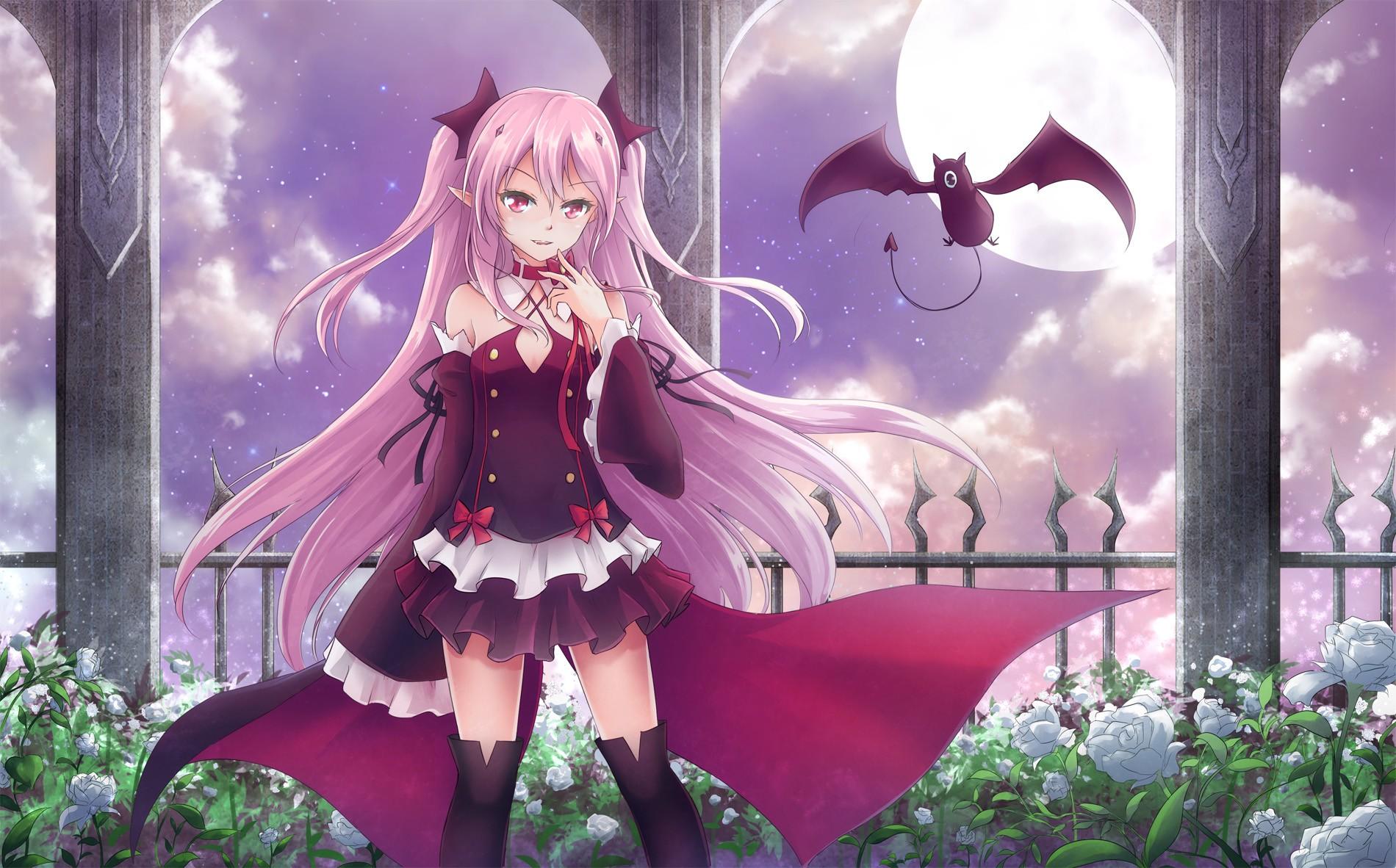 Wallpaper : anime girls, pink hair, vampires, Owari No ...