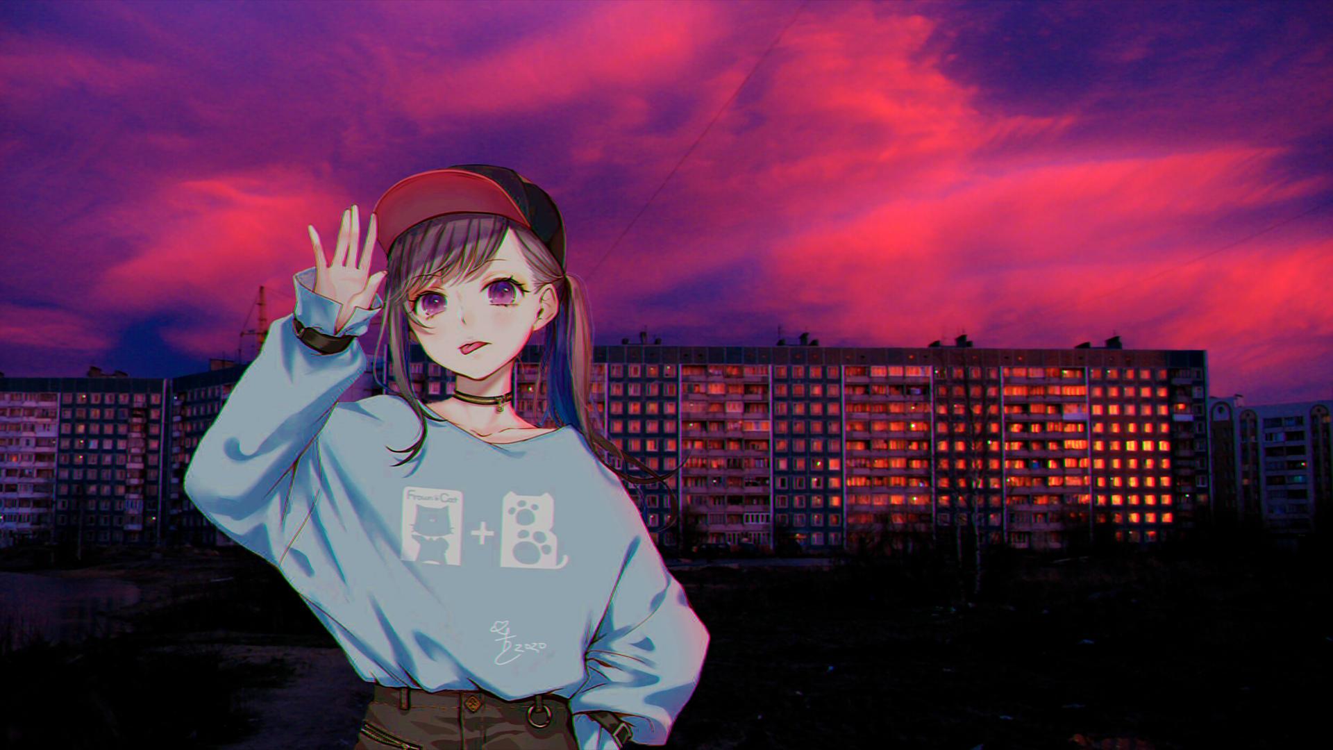デスクトップ壁紙 アニメの女の子 紫色の背景 日没 歩道 ロシア Young Woman 19x1080 Kado95 デスクトップ壁紙 Wallhere