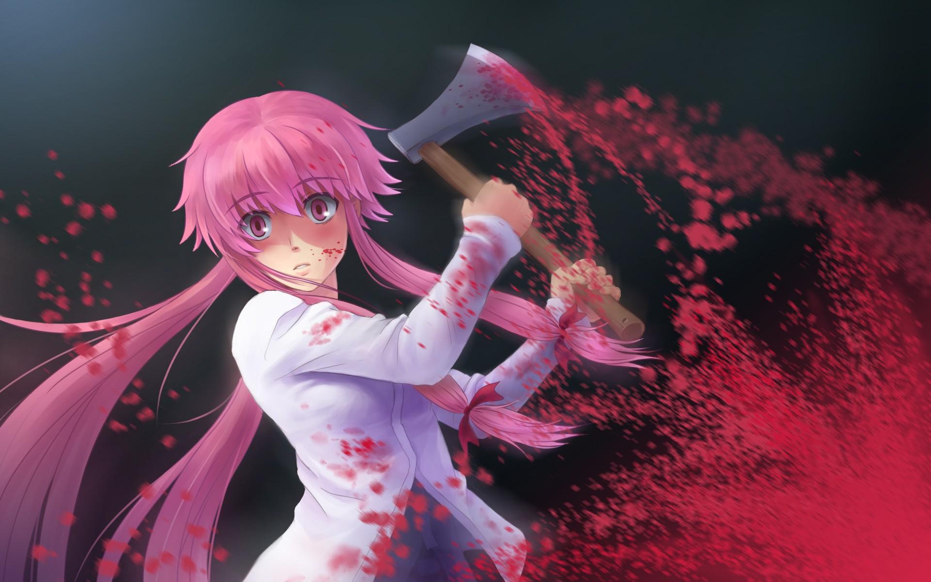 Gasai Yuno Wallpaper: Wallpaper : Anime Girls, Red, Blood, Axes, Mirai Nikki